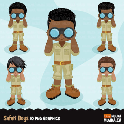 Safari Black boy Clipart, Boy scouts, camping graphics, outdoors, school graphics, Png digital clip art