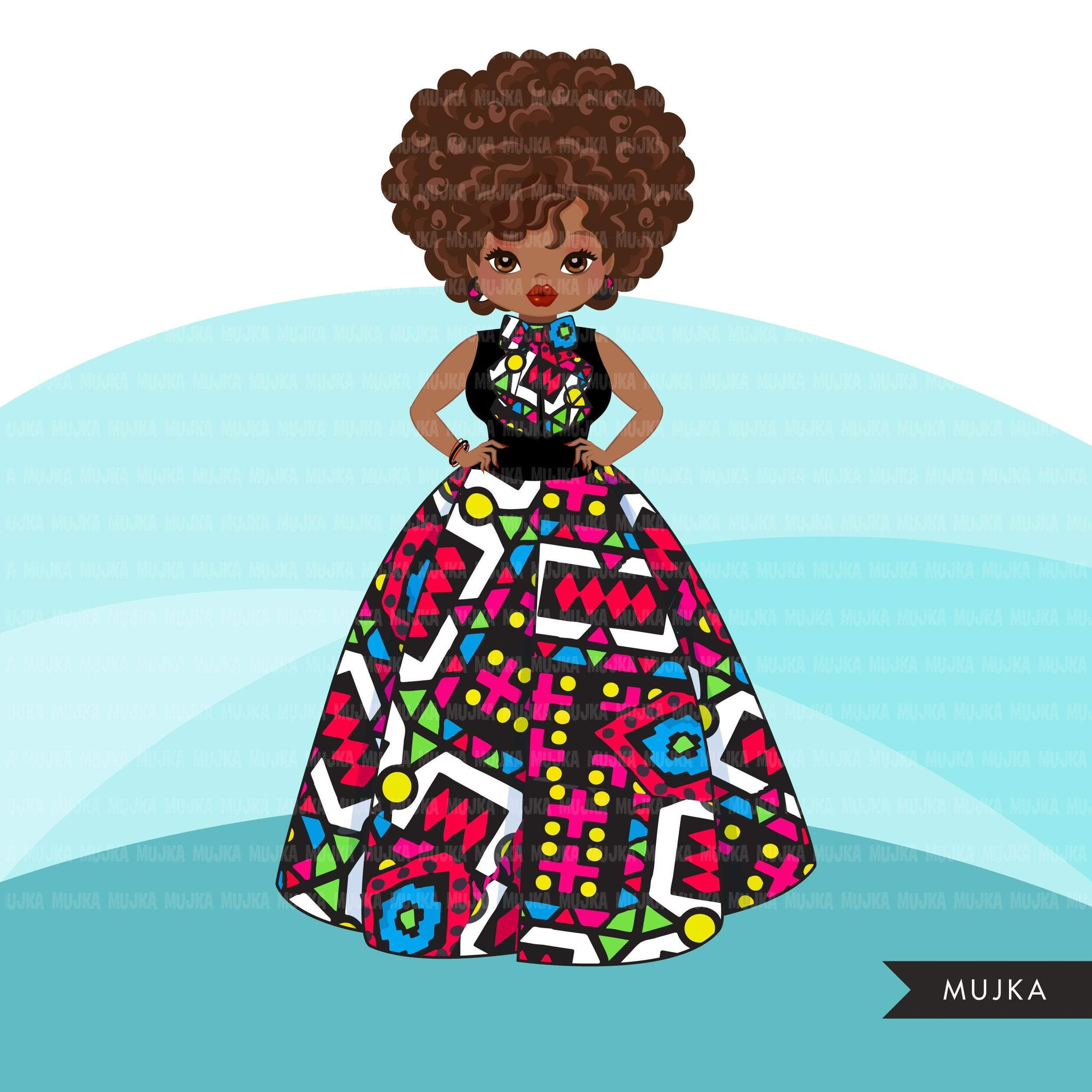 Black woman clipart avatar, Ankara multi-color print bow tie and skirt, fashion graphics, sublimation boss afro girl clip art PNG