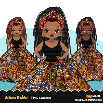 Ankara Fashion Graphics Bundle, Black History African American clipart characters, commercial use PNG clip art
