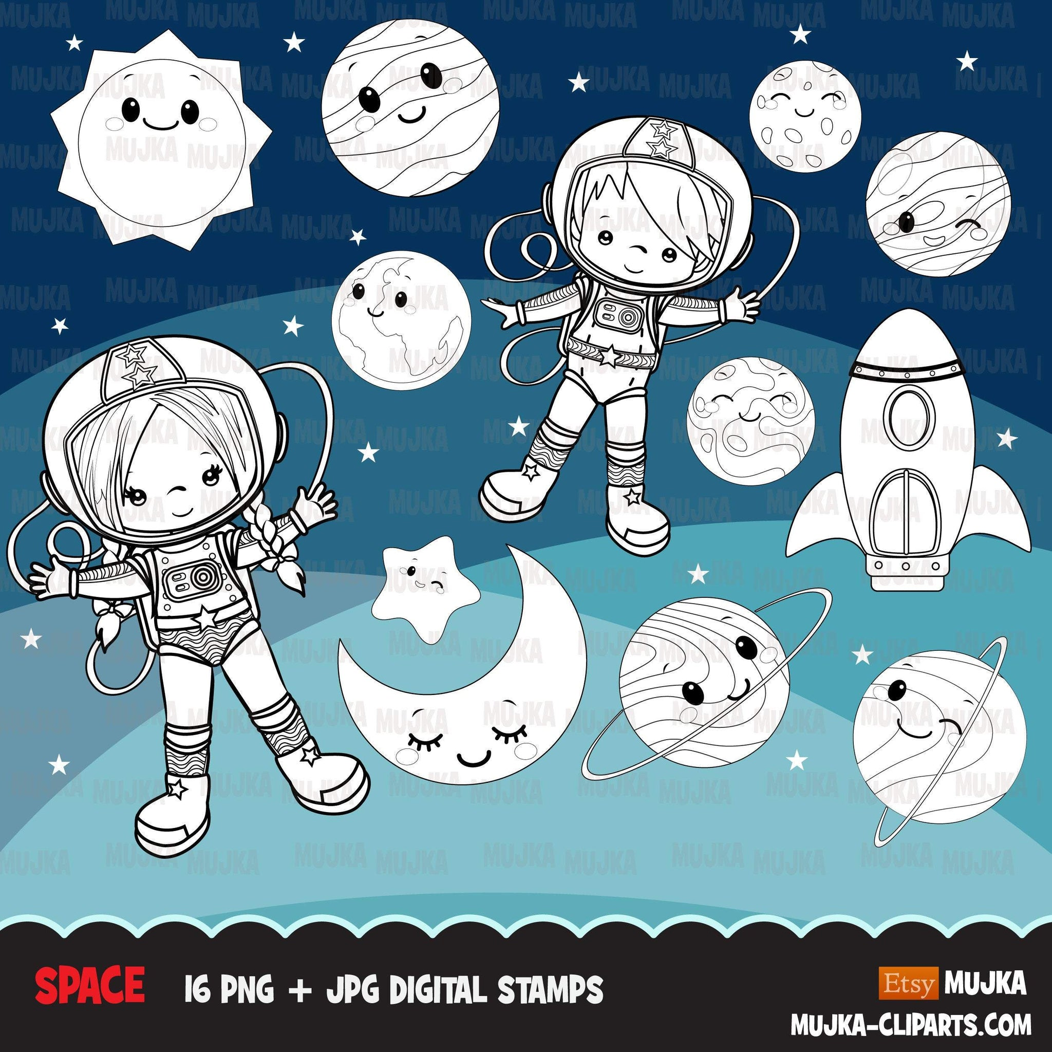 Space astronauts Digital stamps, planets, mars, jupiter, saturn, space rocket graphics, coloring book black and white outline clip art