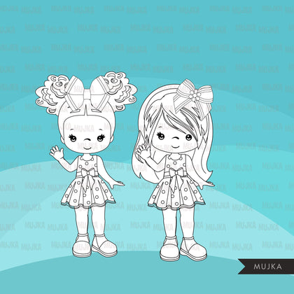 Bows and Ribbons Digital stamps, decorate hair bows, little girl  graphics, coloring book black and white outline clip art