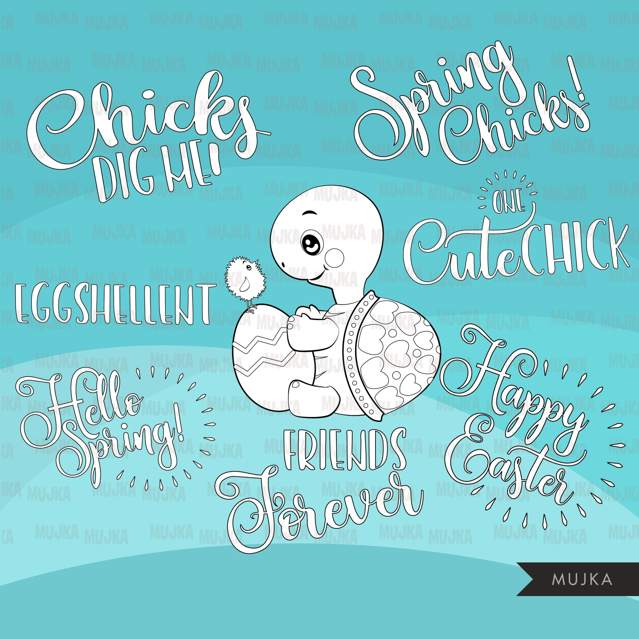 Turtles and Chicks Digital stamps, cute Easter animal graphics, coloring book black and white outline clip art