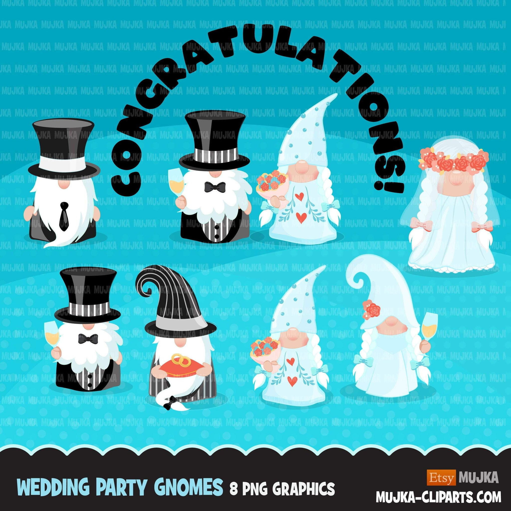 Bride & Groom gnomes, wedding clipart, best man, bridesmaid wedding graphics commercial use Png