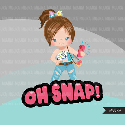 Selfie clipart, little girl taking a selfie, cellphone, oh snap, wording graphics, fashion Png digital clip art