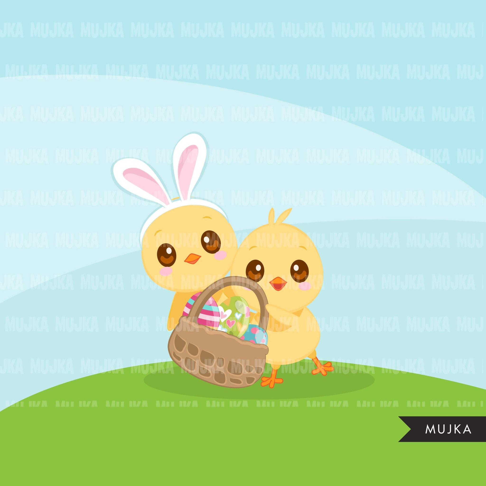 Easter Chick Clipart, Cute Spring is in the Air, Easter egg, animal graphics  commercial use digital PNG clip art