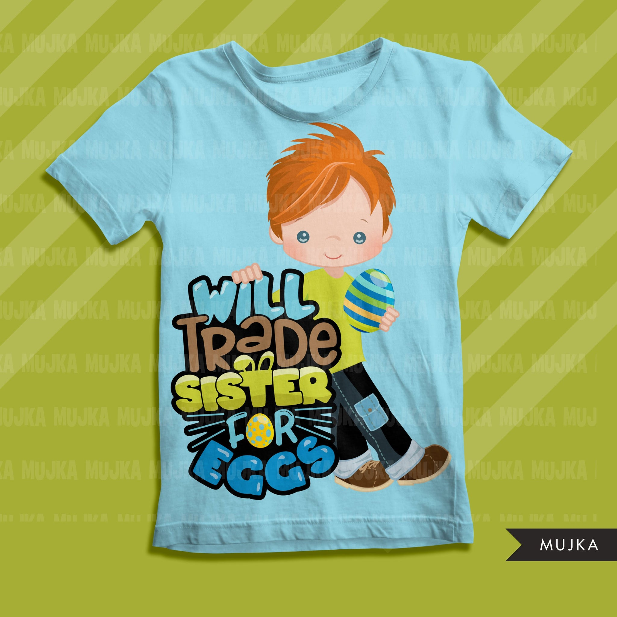 Easter PNG digital, Will trade sister for eggs Printable HTV sublimation image transfer clipart, t-shirt boy graphics