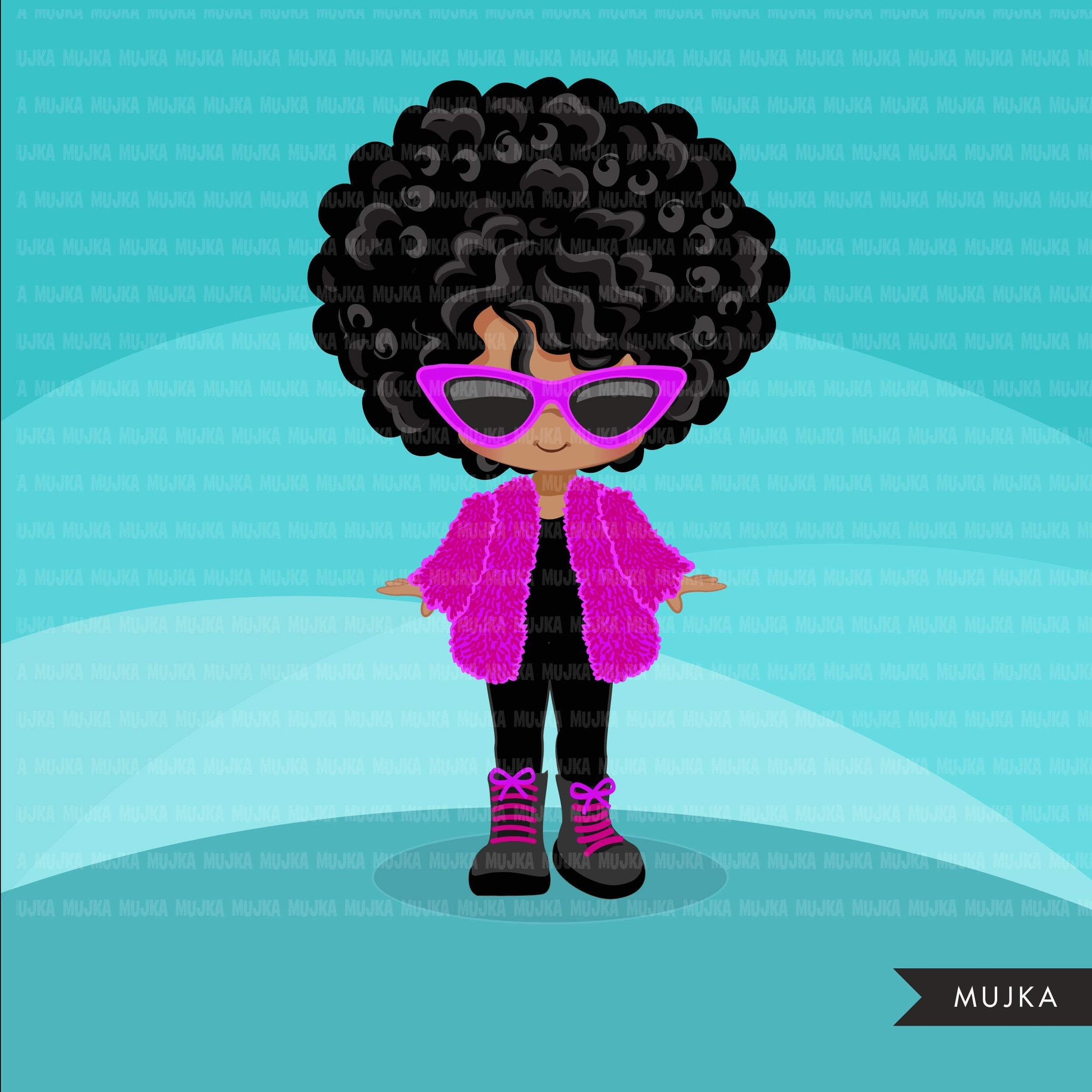 Fashion little black girl clipart with fluffy crochet pink jacket, boots and sunglasses, Vacation, travel commercial use characters, digital