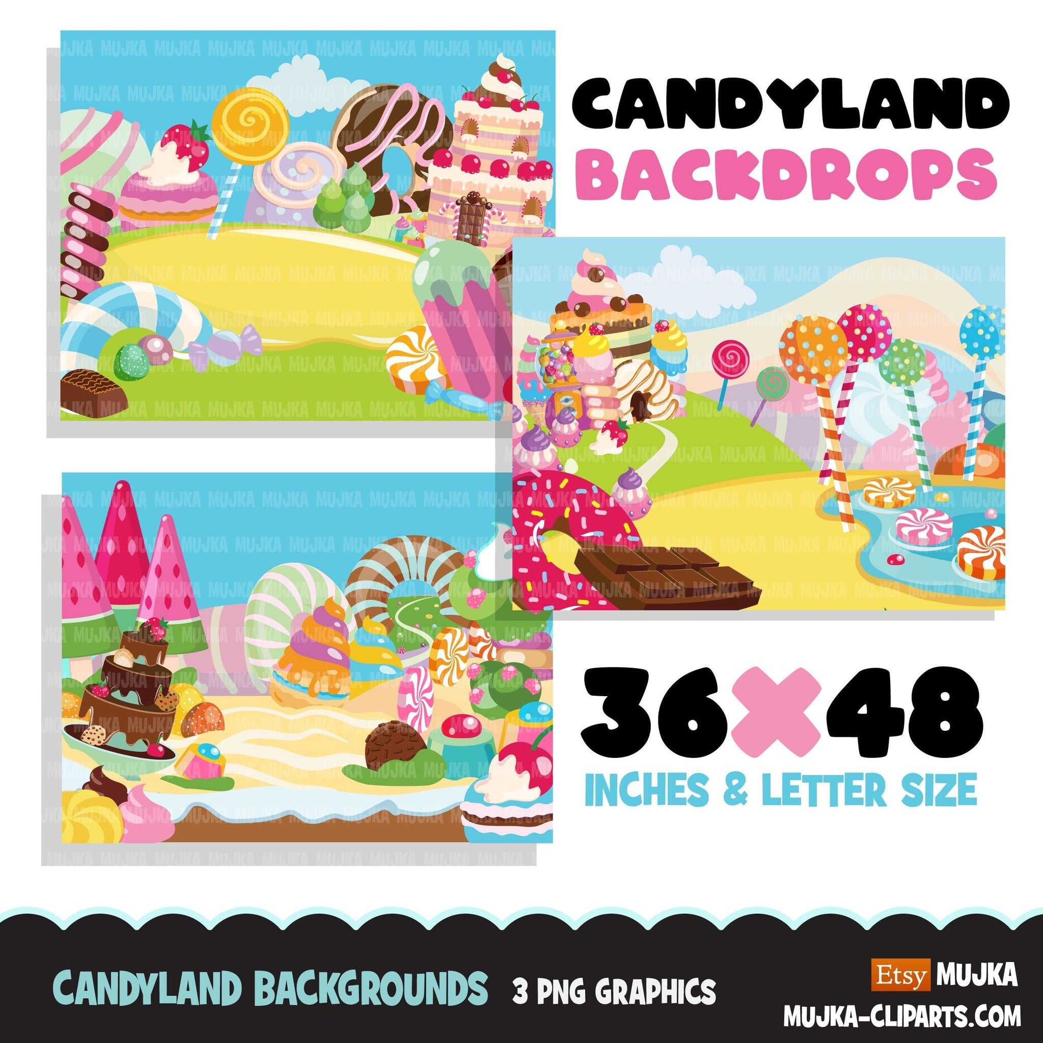 Candy land Backgrounds Clipart, sugar, lollipop rainbow, cupcake, truffles and chocolate graphics, backdrop commercial use printable
