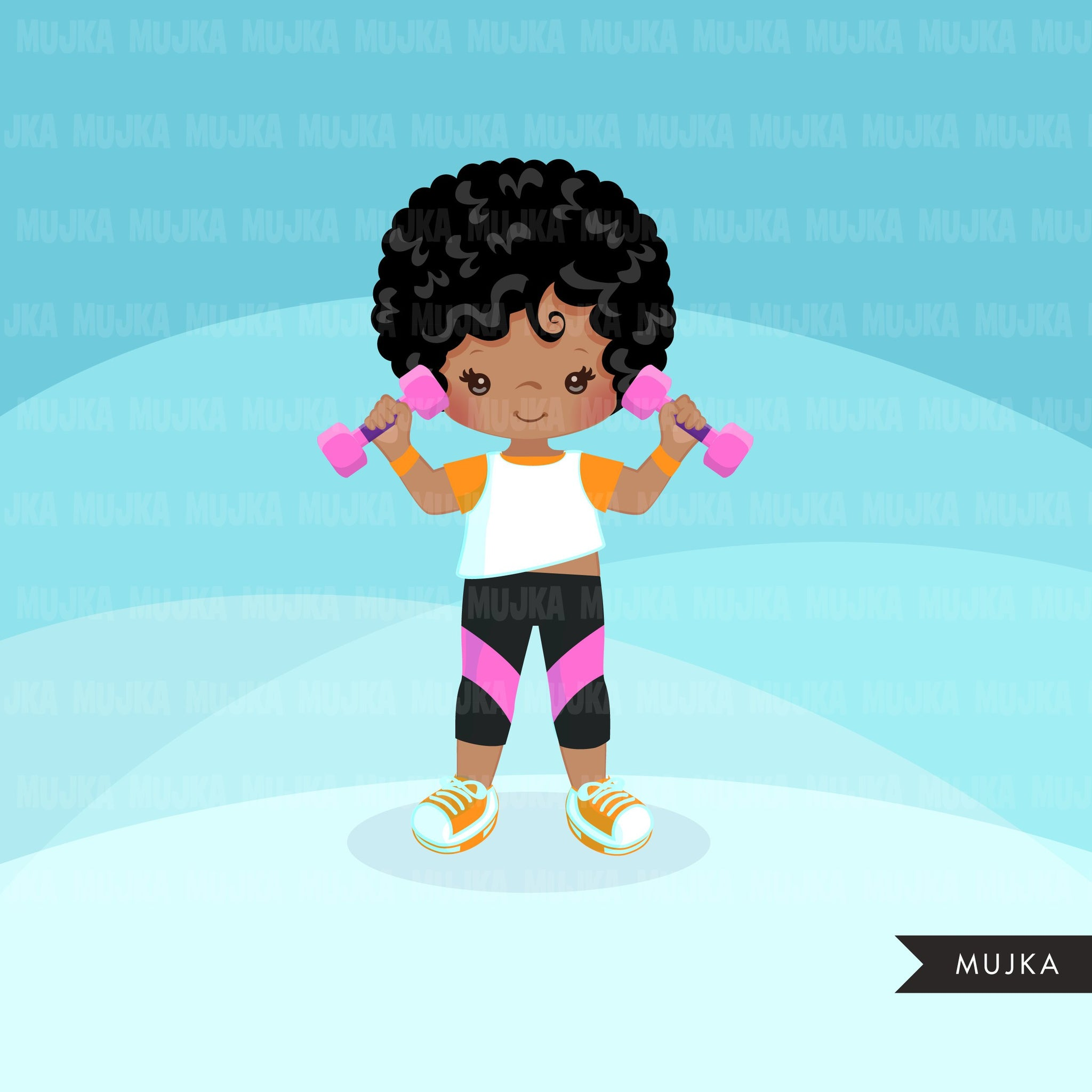 Fitness clipart Healthy lifestyle, yoga, workout, gym graphics, commercial use clip art, weight lifting black girls