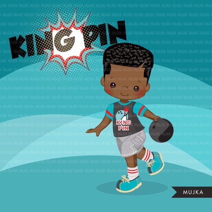 Bowling Clipart, King Pin summer, retro birthday party printables, black boys Png graphics