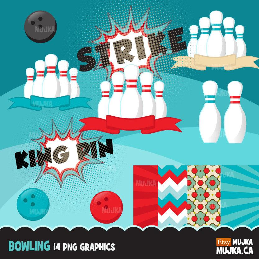 Bowling Clipart Bundle, retro bowling, king pin, queen pin, strike, birthday party graphics commercial use PNG clip art, boys, girls