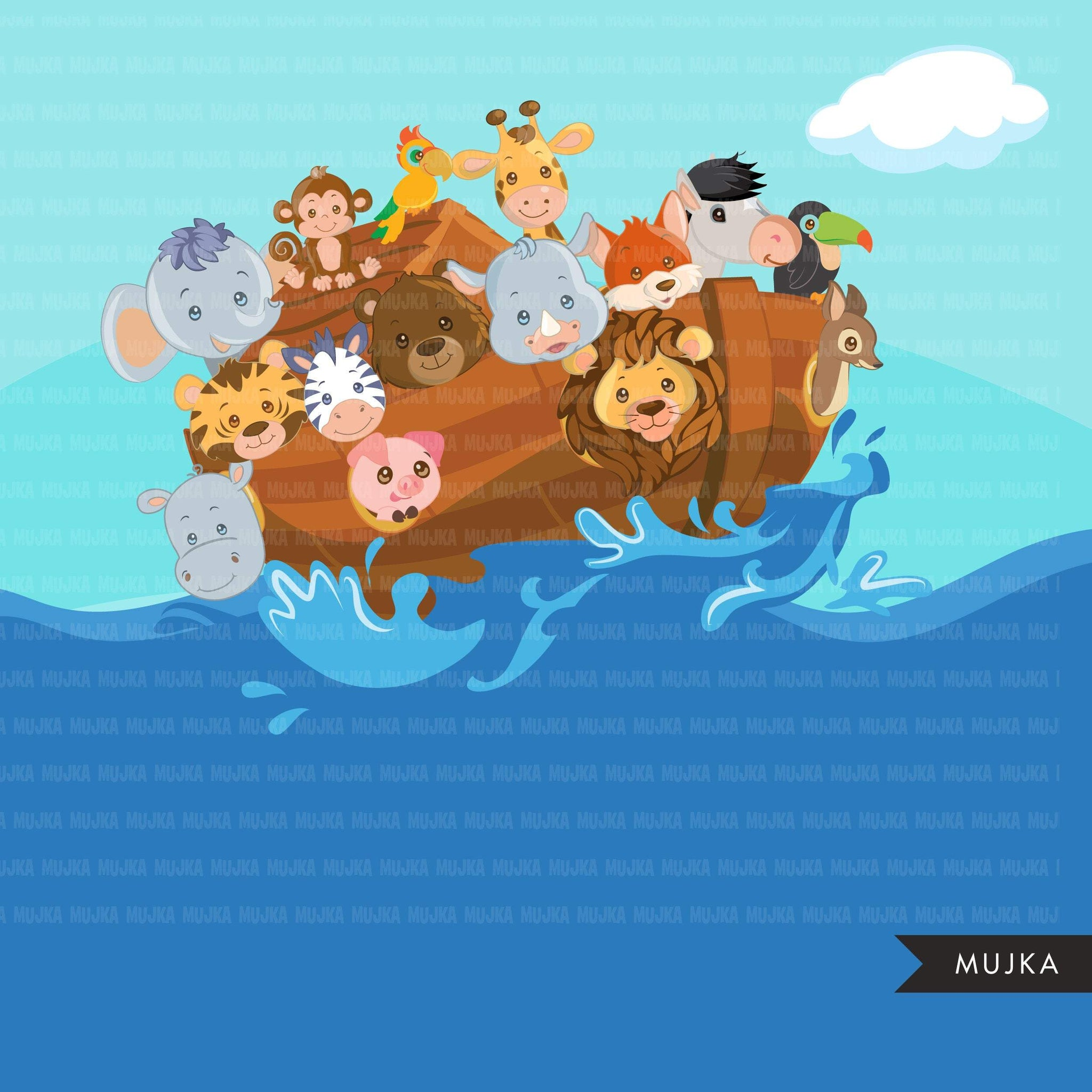 Noah's Ark Clipart and Backgrounds, religious graphics, animals commercial use Png clip art