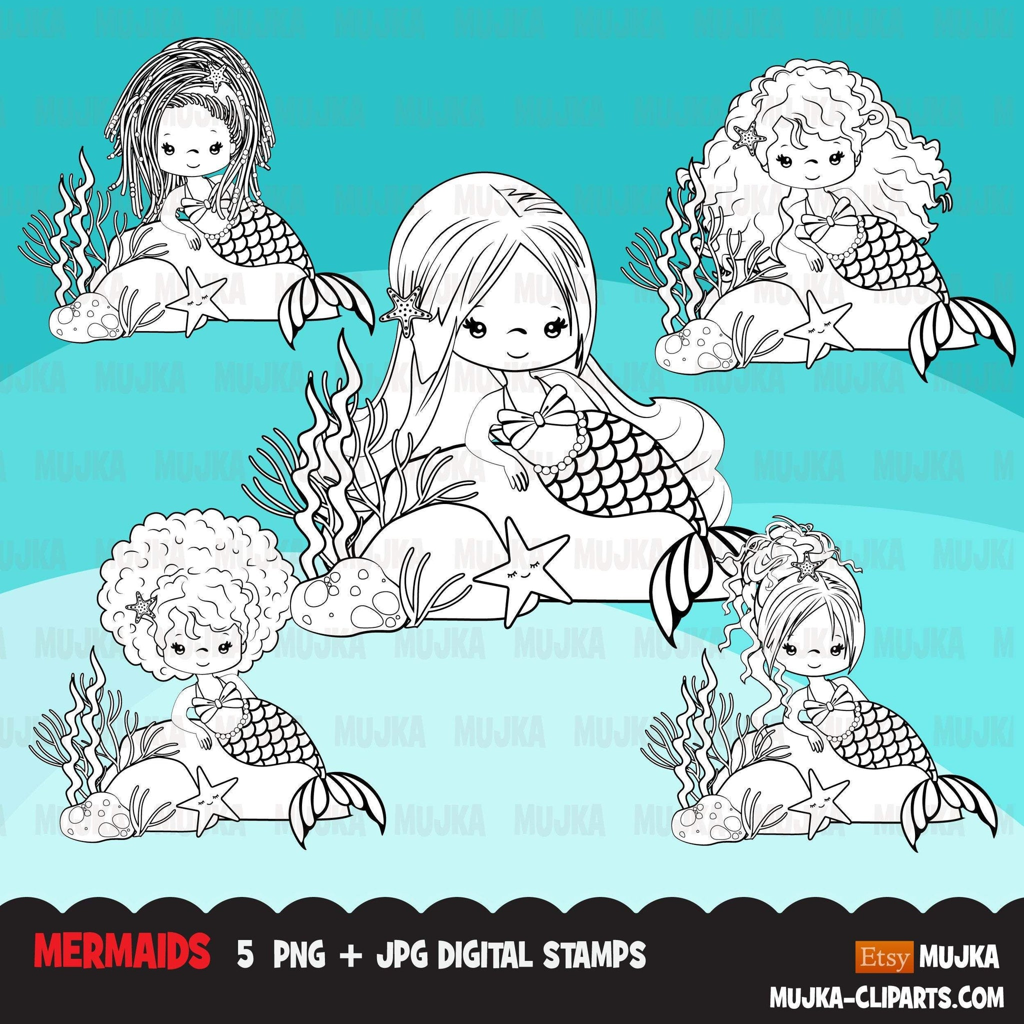 Mermaid Digital stamps, black & white marine graphics, black princess coloring book art outline clipart