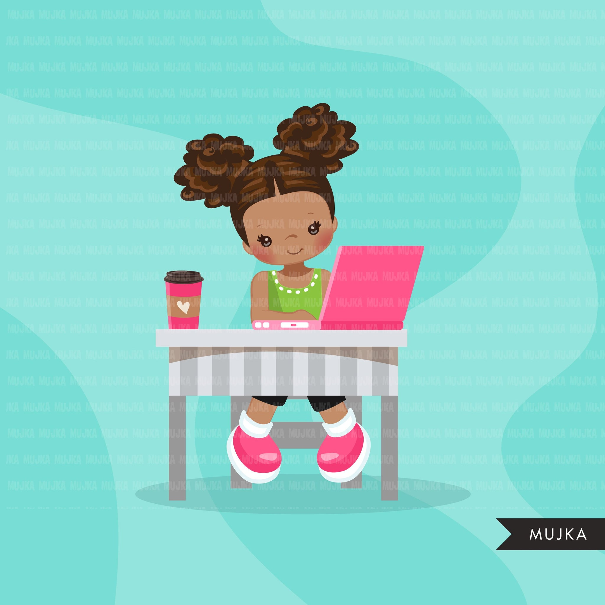 Distant Learning Clipart, Black Girls with pink laptop, homeschooling, student homework, shop logo graphics, Png clip art