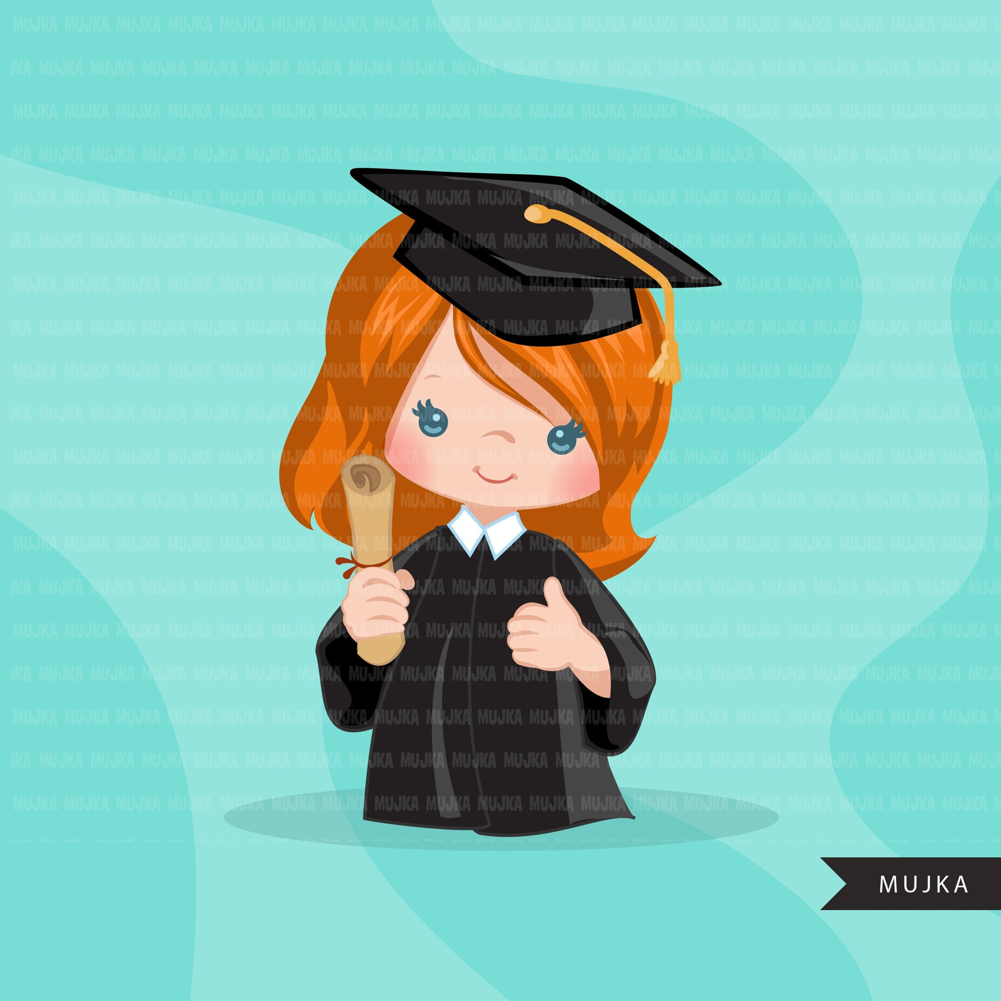 Graduation Clipart, 2020 cute graduate girls with cape and scroll, school, student class of 2020 gold banner graphics, PNG clip art