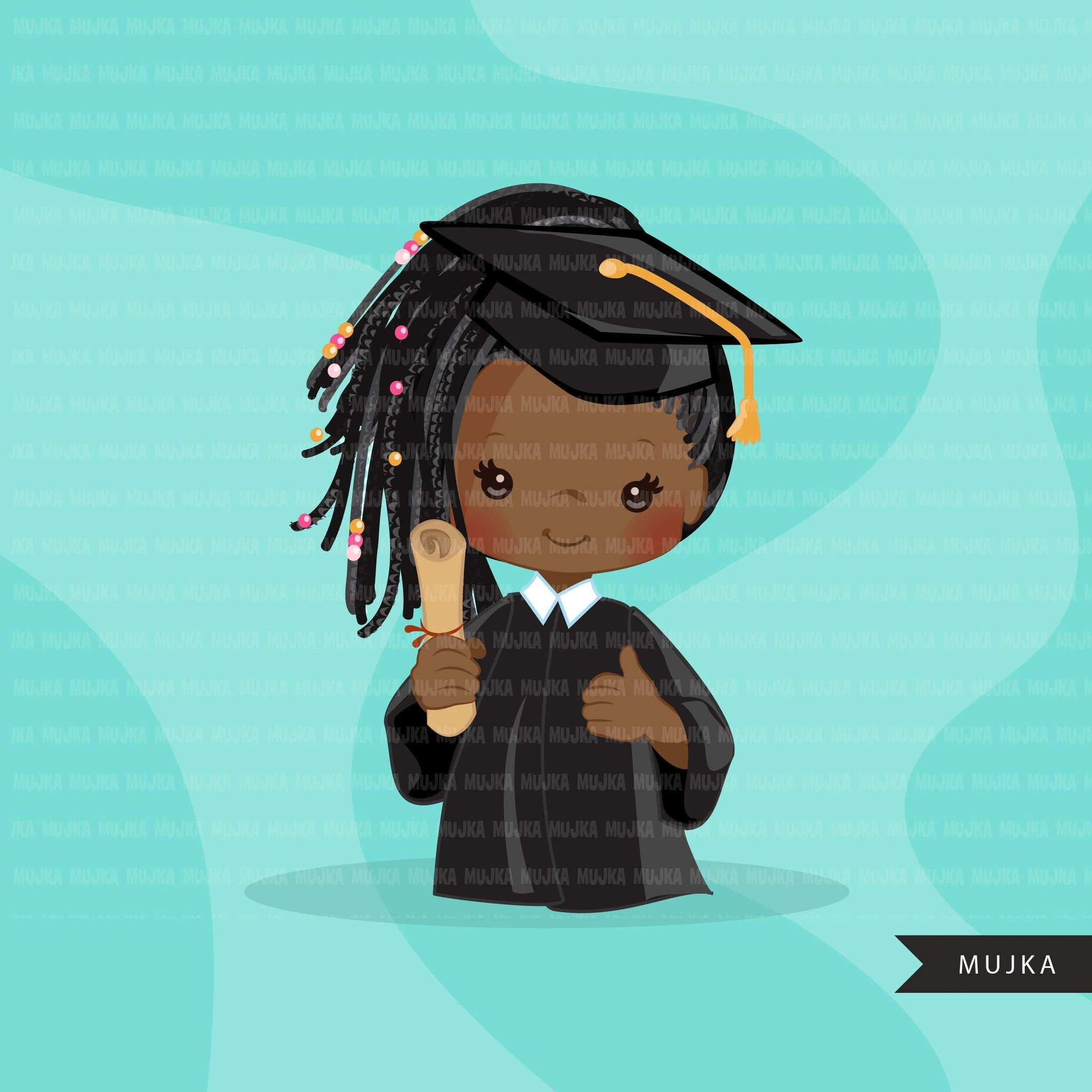 Graduation Clipart, 2020 black graduate girls with cape and scroll, school, student class of 2020 gold banner graphics, PNG clip art