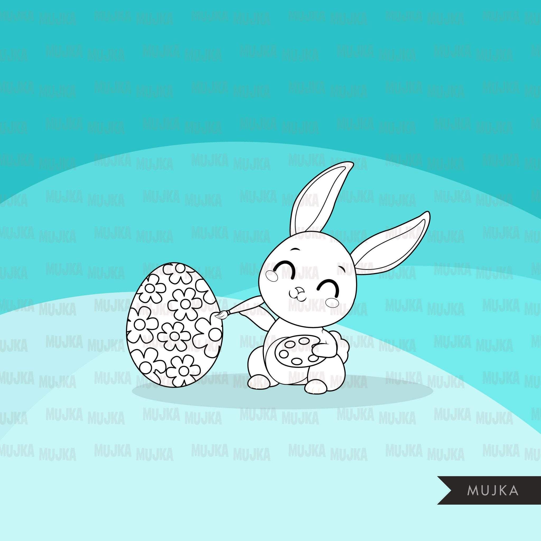 Easter Digital stamps, Bunny ears, black & white graphics, egg hunt, best friends, coloring book art outline clipart