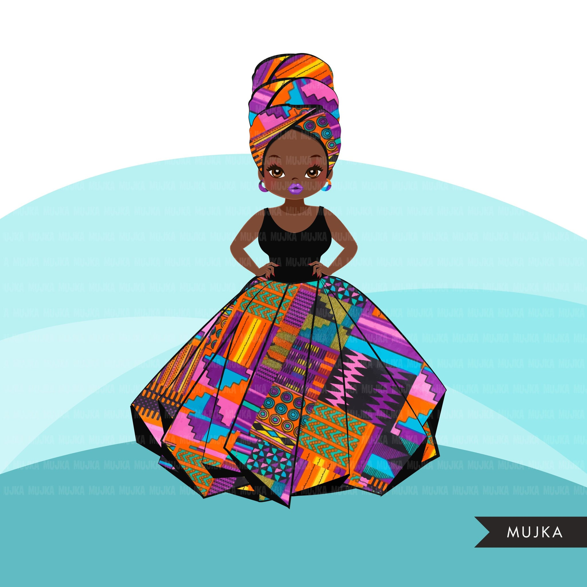 Black woman clipart avatar, Ankara kente African print, tribal head wrap and skirt, fashion graphics girl clip art PNG