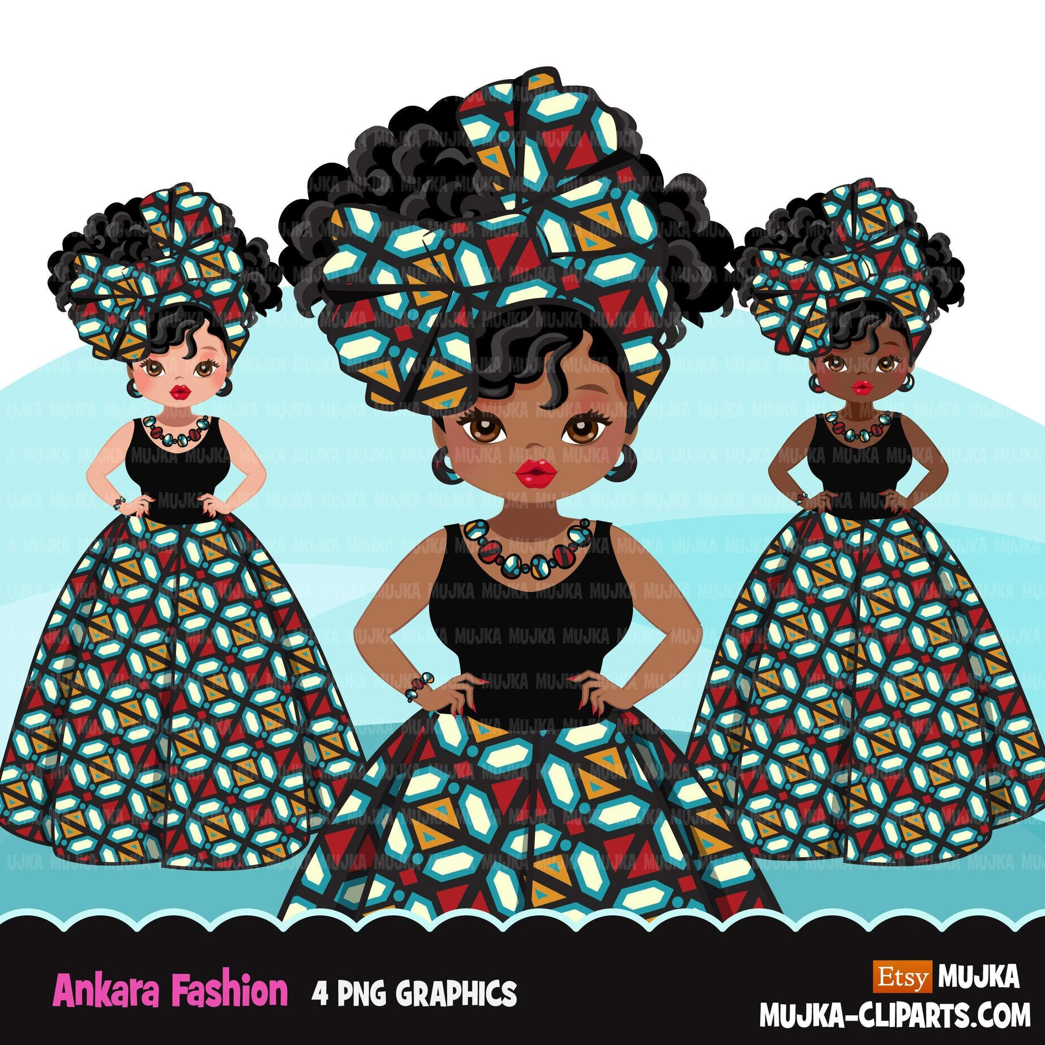 Black woman clipart avatar, Ankara geometrical print skirt, head wrap fashion graphics afro girl clip art PNG