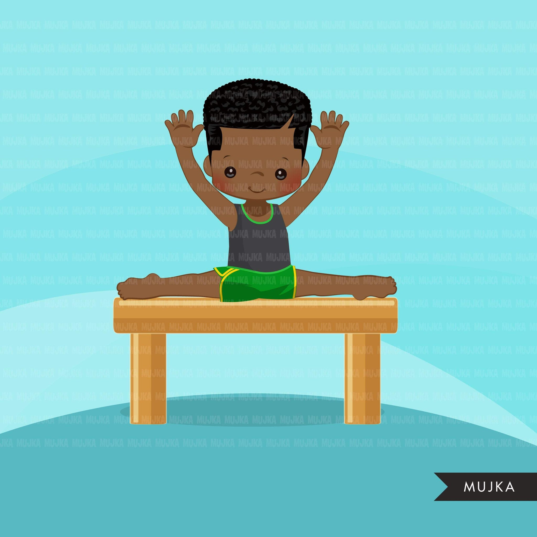 Gymnastics Clipart, Gymnast black boys, balance bar, sports, school activity, commercial use PNG graphics