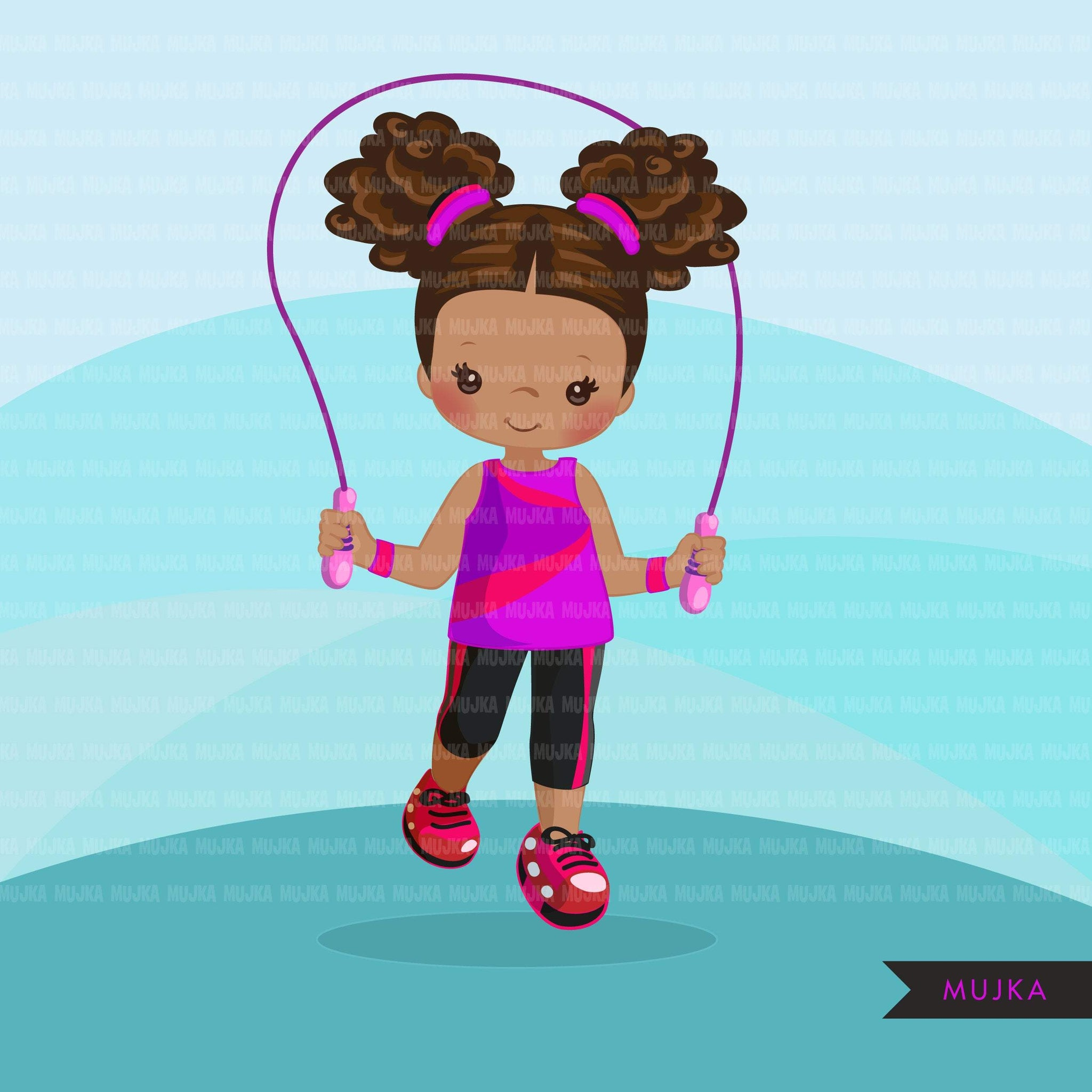 Gymnastics Clipart, Gymnast black girls, skipping workout, fitness, sports, school activity, commercial use PNG graphics