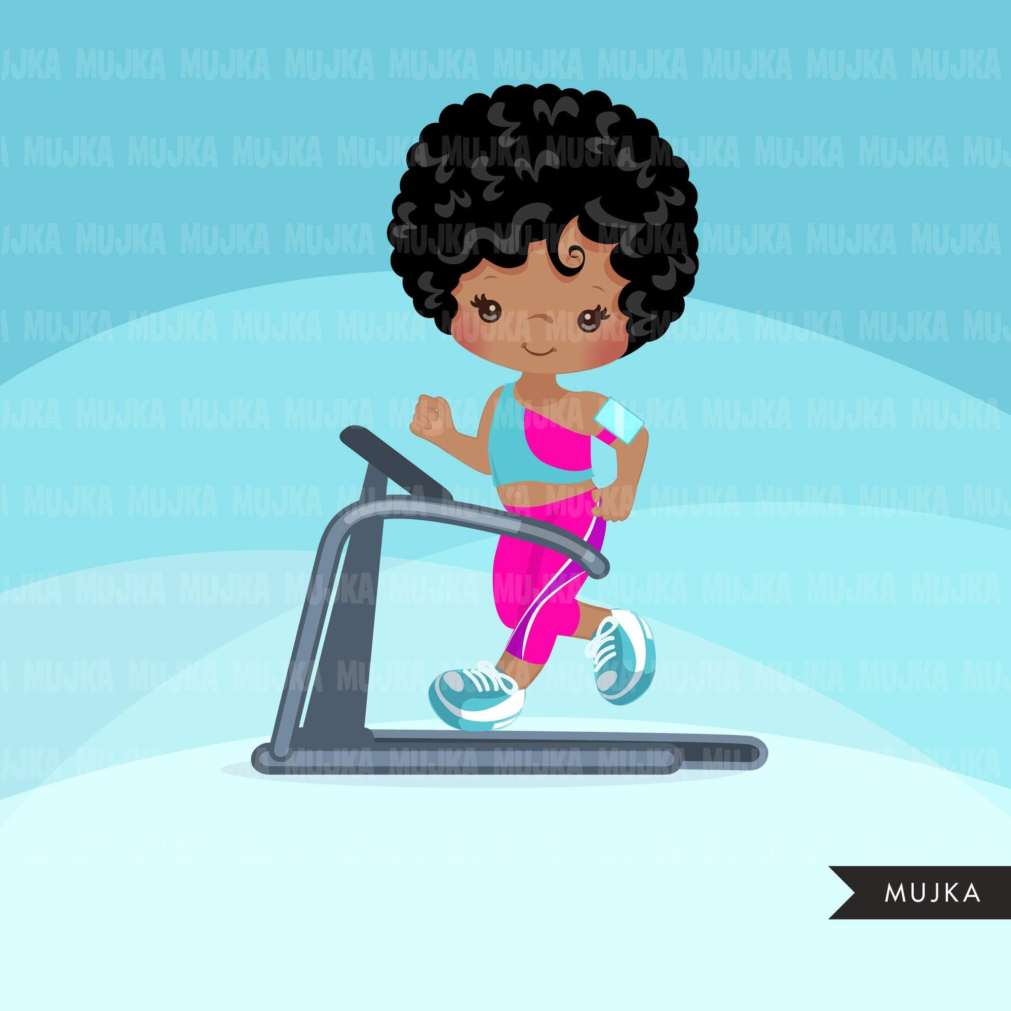 Fitness Clipart, black girls running on treadmill, workout, sports, school activity, commercial use PNG graphics
