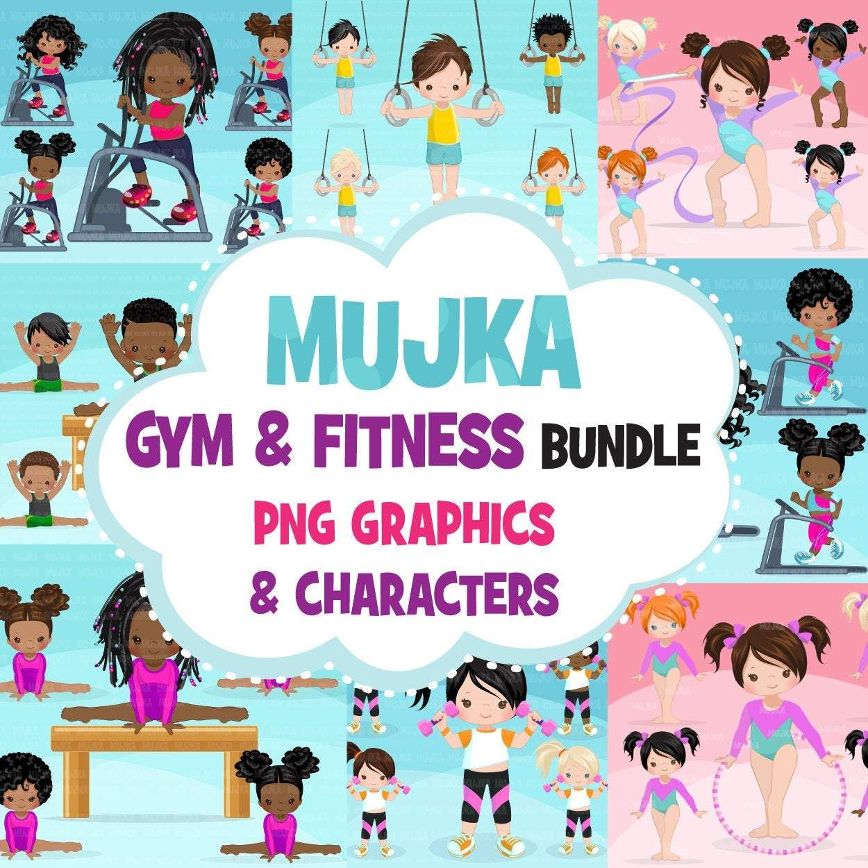 Gymnastics Fitness Clipart Bundle, Sports, workout sublimation t-shirt for black, boy, girl graphics commercial use PNG clip art