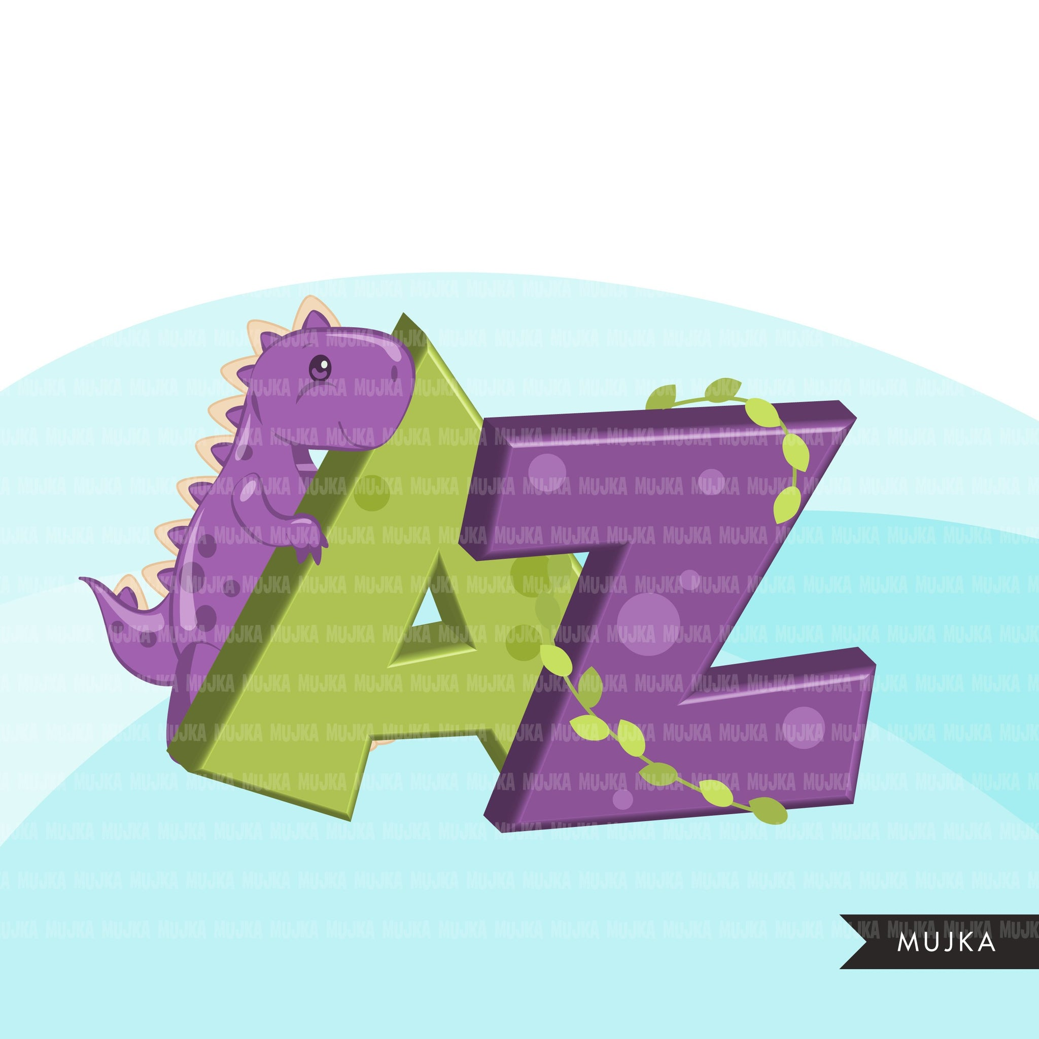 Dinosaur Alphabet Clipart, stackable boy birthday, baby shower letter  PNG graphics