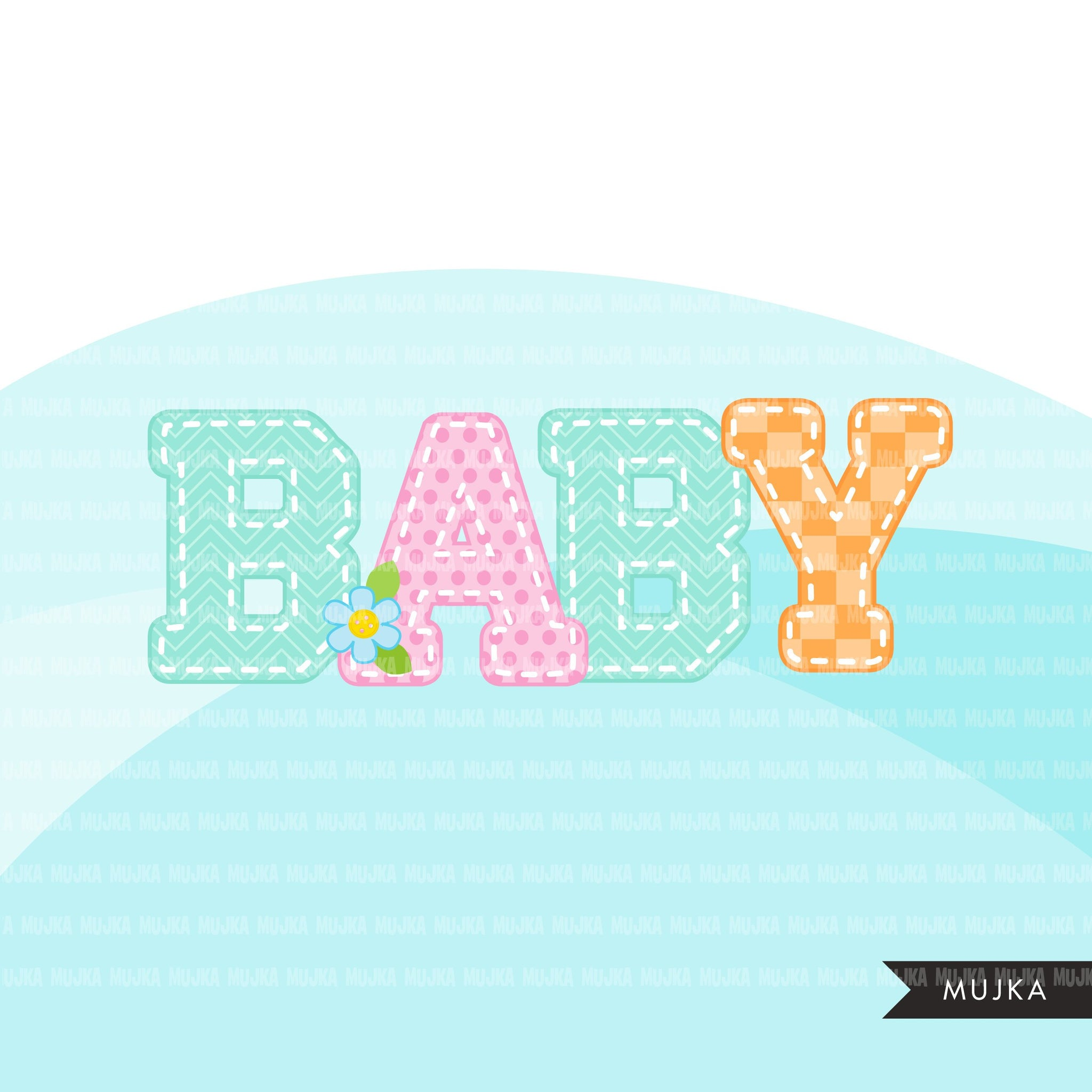 Stitched Alphabet Clipart, stackable, boy and girl ...