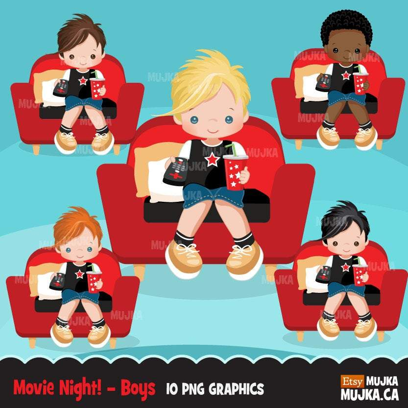 Movie Night Clipart Bundle, Sleepover, home birthday party, popcorn, black, boy, girl graphics commercial use PNG clip art