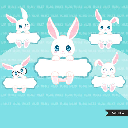 Easter Bunny Split Clipart, Cute rabbit with Easter frame, animal graphics, commercial use digital PNG clip art