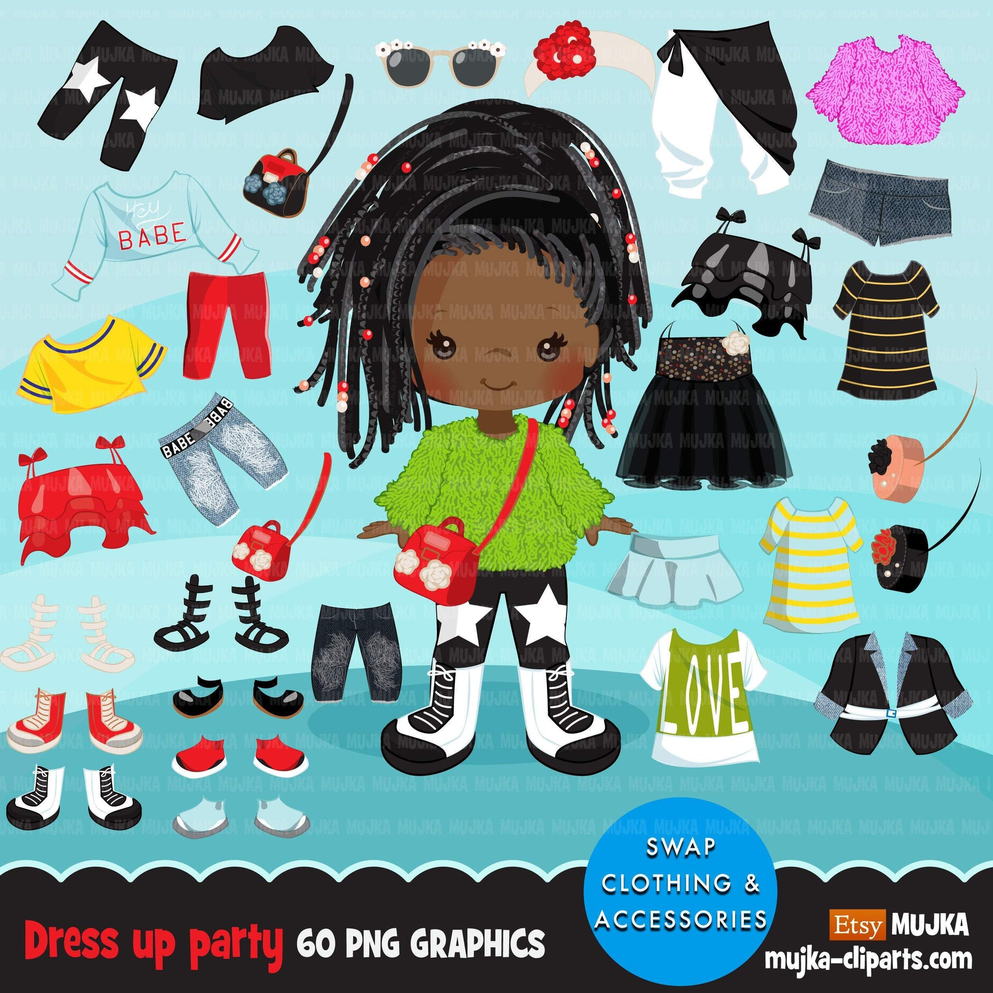 Paper doll clipart, Dressing Party Graphics, Cute Characters, black girls fashion, outfits png clip art