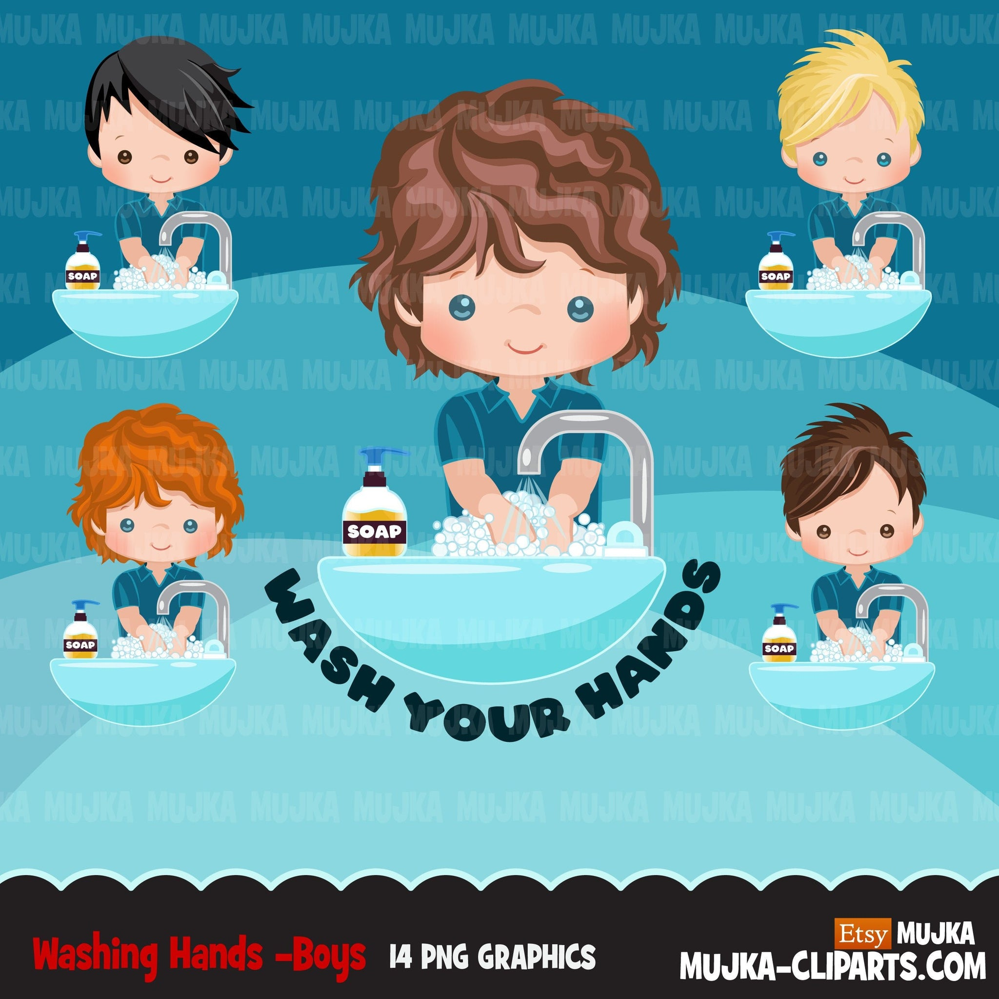 Hand washing Clipart, boys, hand sanitizer, bathroom chores, cleaning, covid 19, corona virus, social distancing graphics