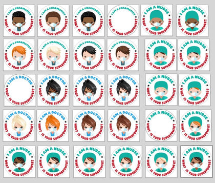 What is your superpower clipart, Digital stickers, Nurse, doctor, pharmacist with mask graphics,  PNG  clip art