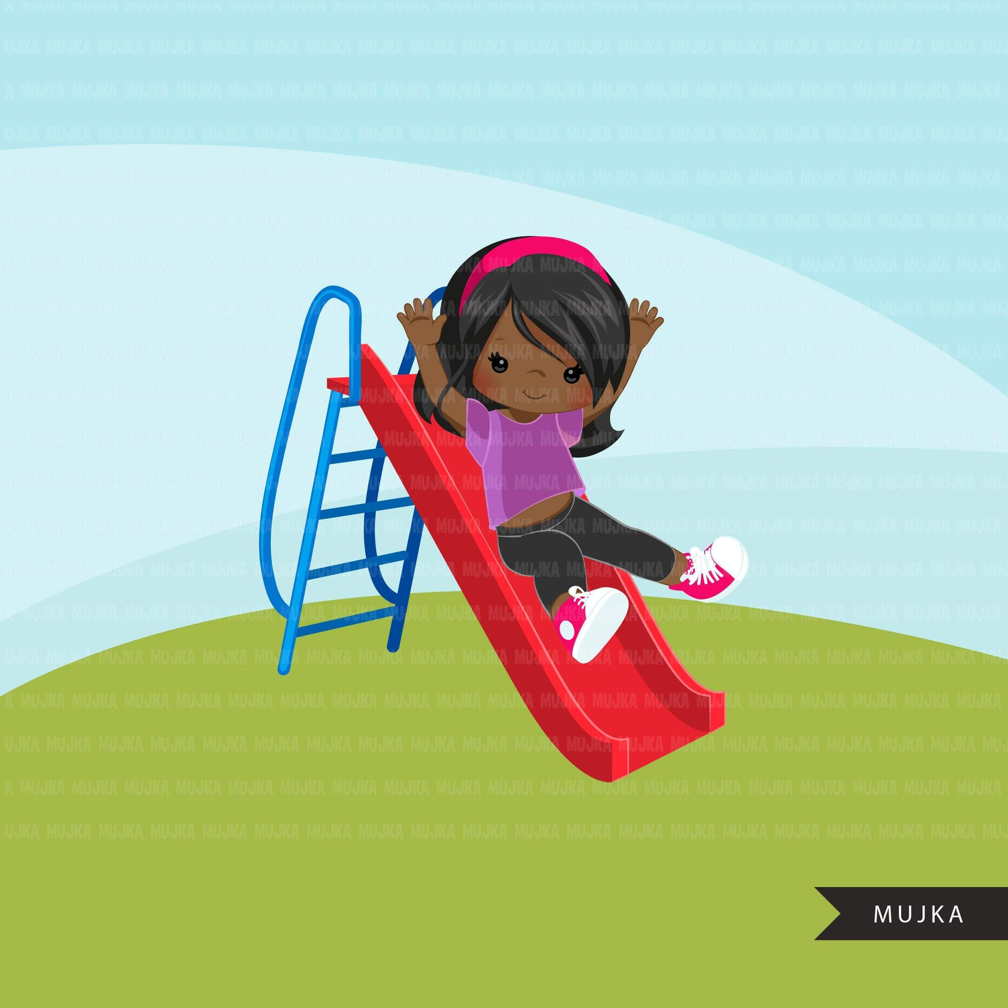 Playground Clipart, girl on slide, outdoors park slide graphics, kindergarten, first grade, school commercial use Png clip art