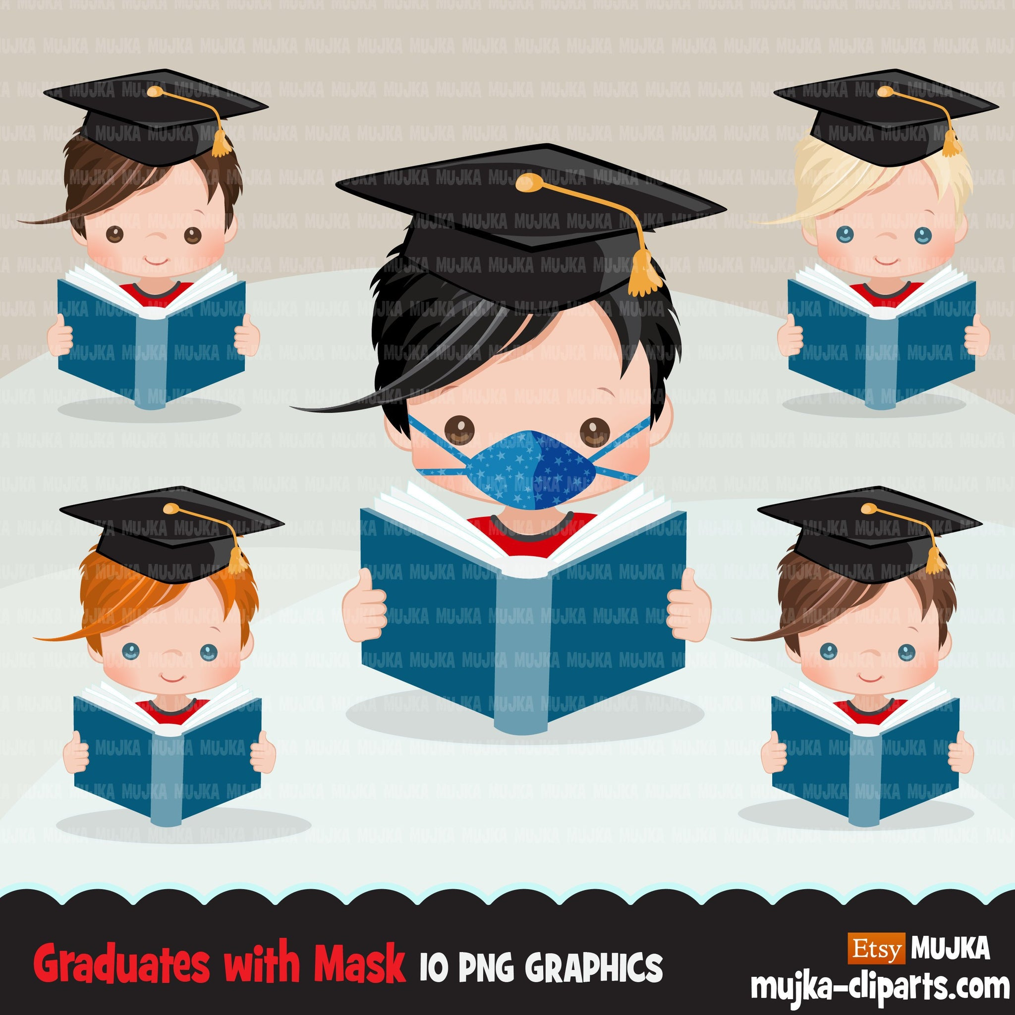 Graduation Clipart, graduate boys with book and mask, school, student class of 2020 covid quarantine graduation graphics, PNG clip art