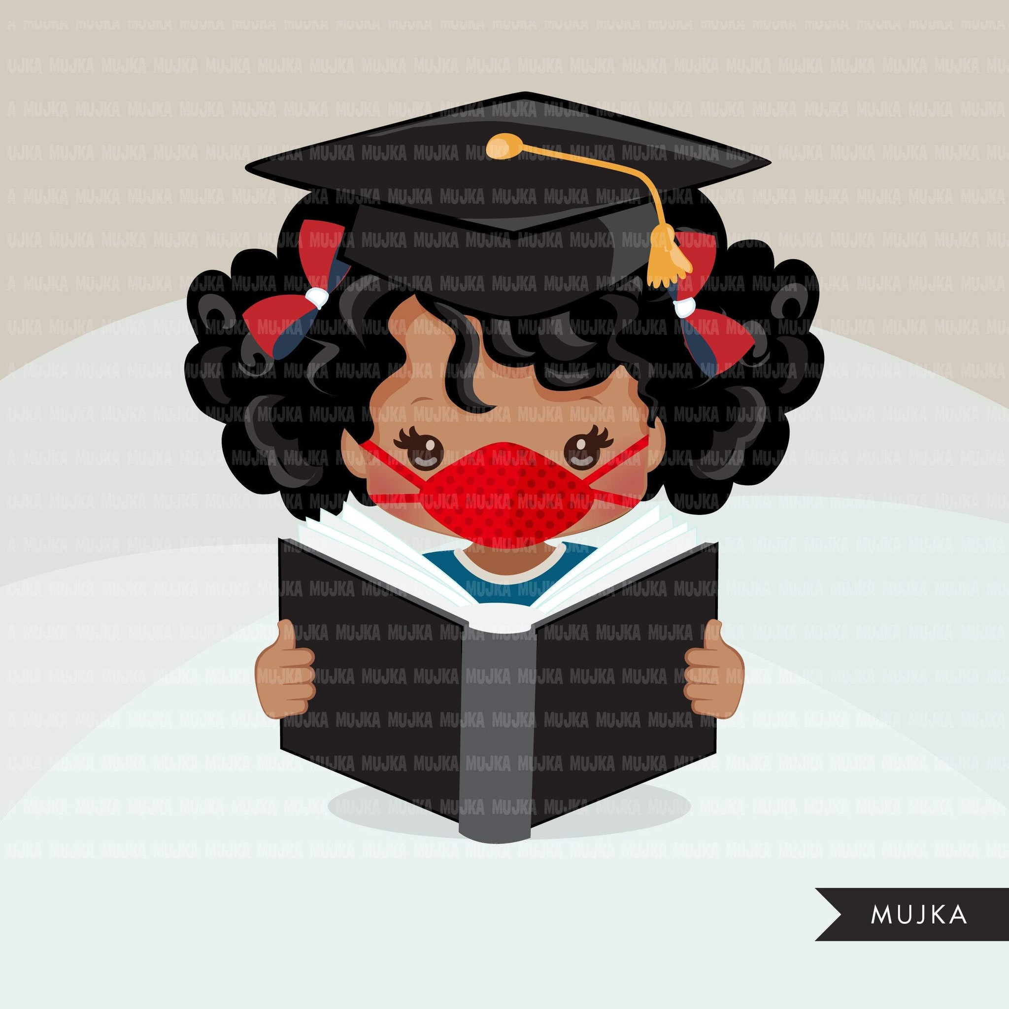 Graduation Clipart, graduate black girls with book and mask, school, student class of 2020 covid quarantine graduation graphic, PNG clip art