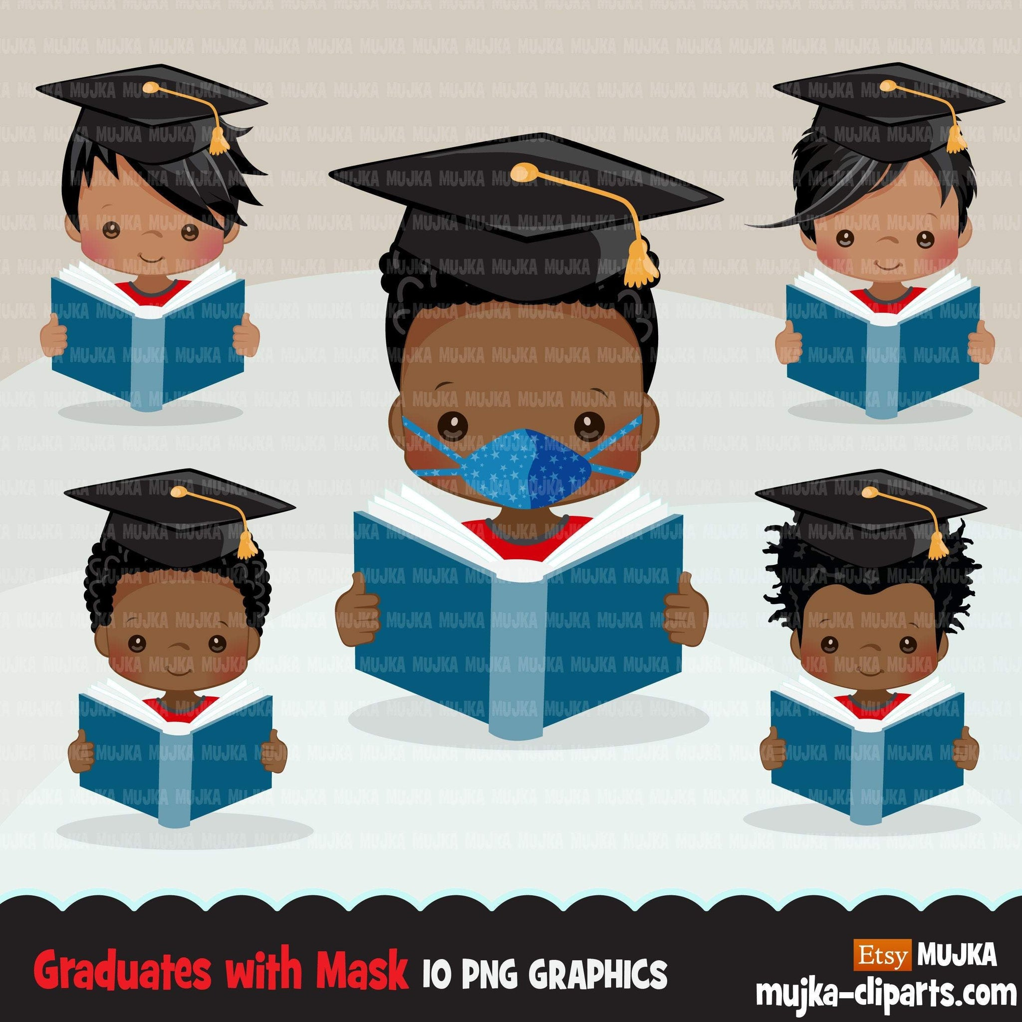 Graduation Clipart, graduate black boys with book and mask, school, student class of 2020 covid quarantine graduation graphics, PNG clip art