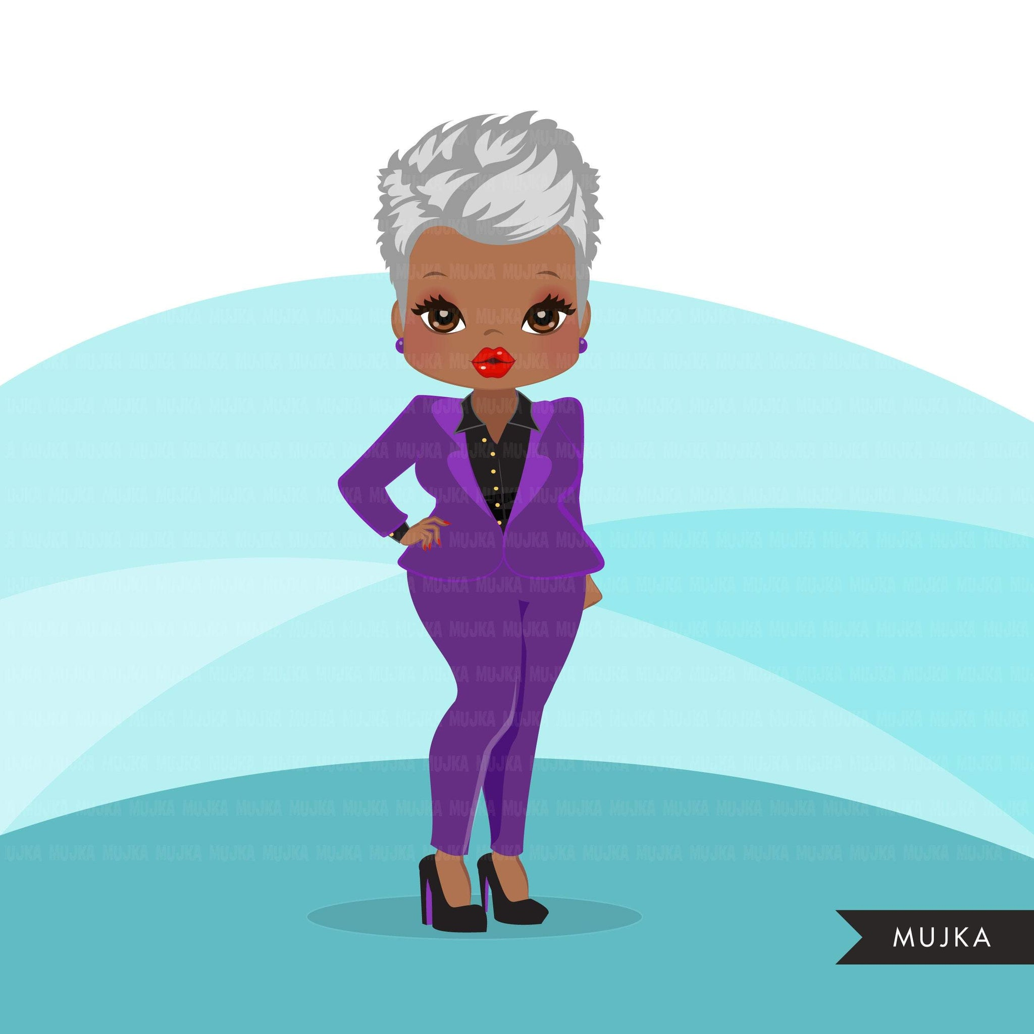 Afro mature woman clipart with purple business suit, briefcase and glasses black senior women graphics, print and cut sublimation clip art