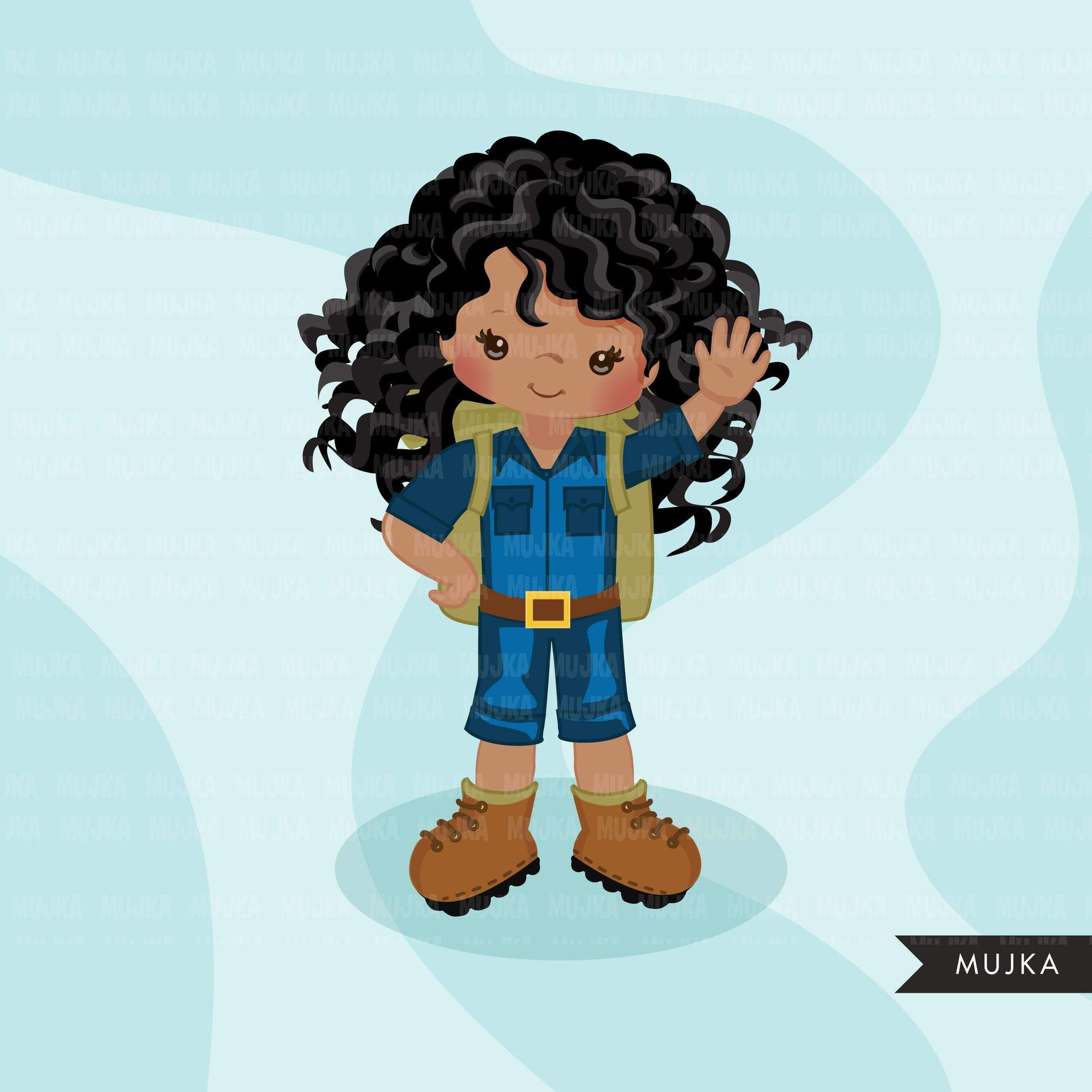 Safari Black girls Clipart, Girl scouts, camping graphics, outdoors, school graphics, Png digital clip art