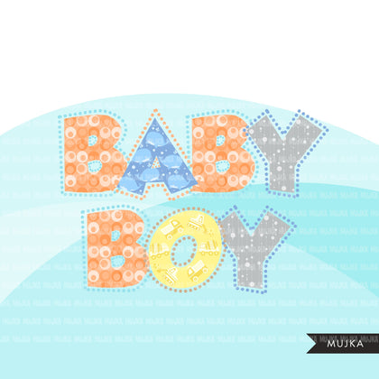 Baby Boy Alphabet Clipart, dotted lines, stackable, boy birthday, baby shower letters and numbers, PNG graphics