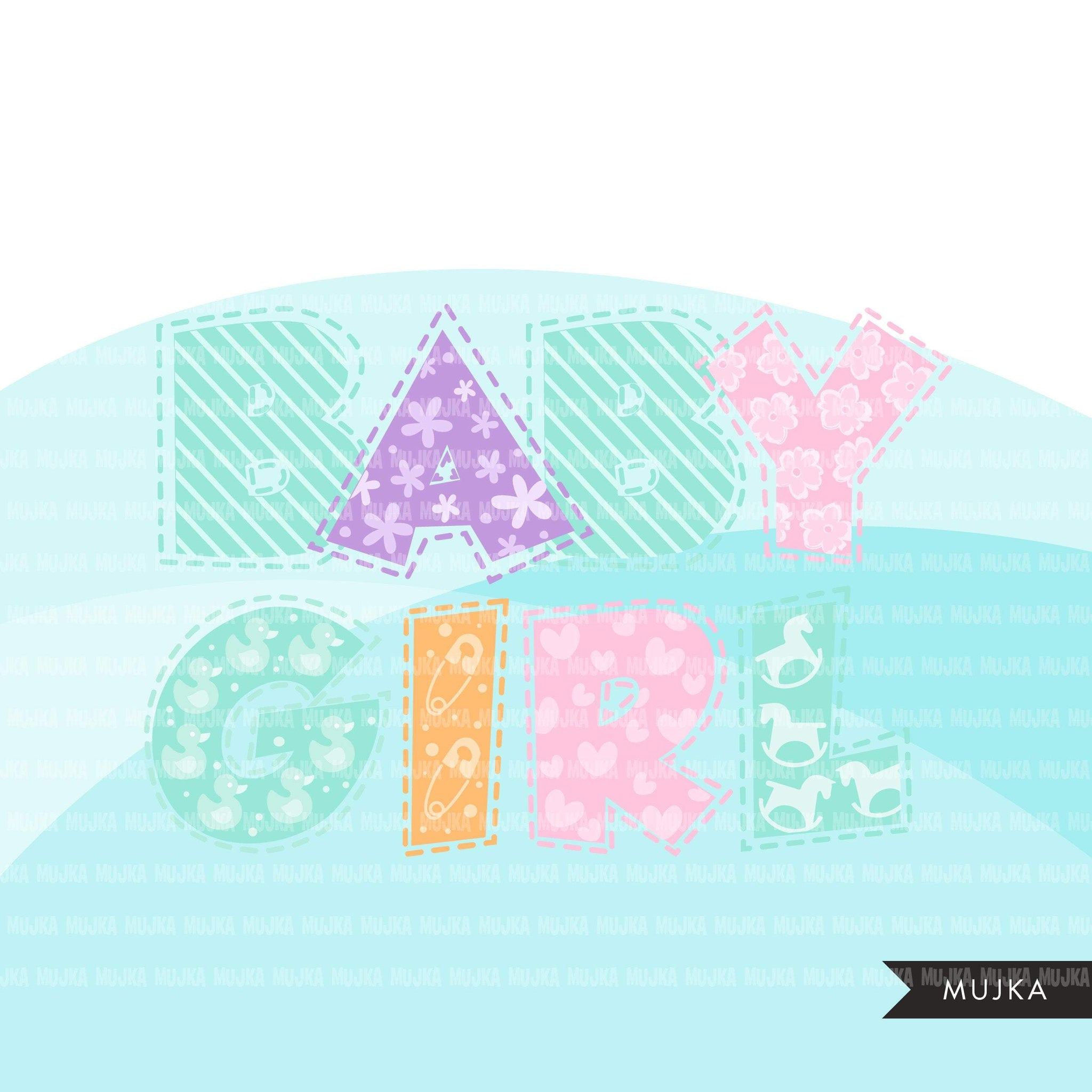 Baby Girl Alphabet Clipart, stitched lines, stackable, girl birthday, baby shower letters and numbers, PNG graphics