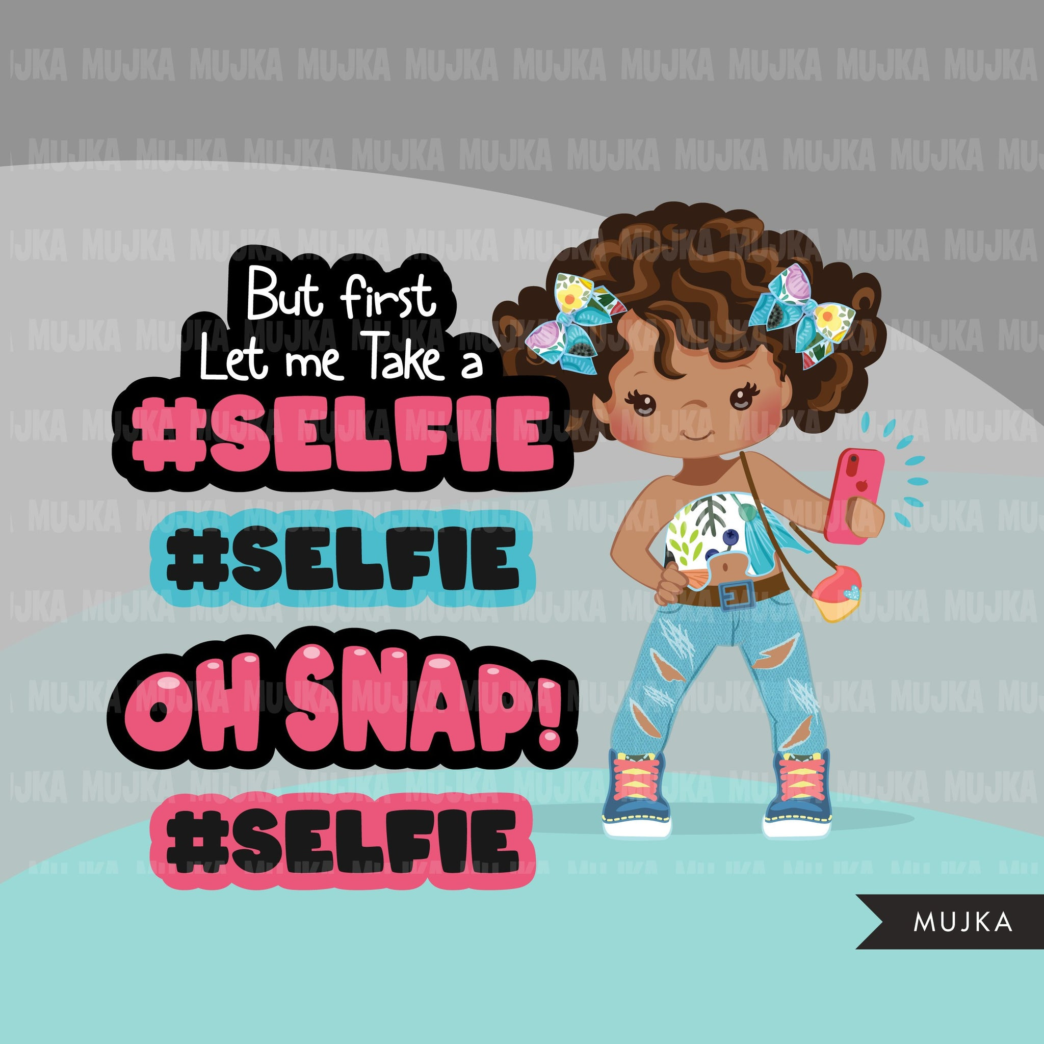 Selfie clipart, little black girls taking a selfie, cellphone, oh snap, wording graphics, afro fashion Png digital clip art