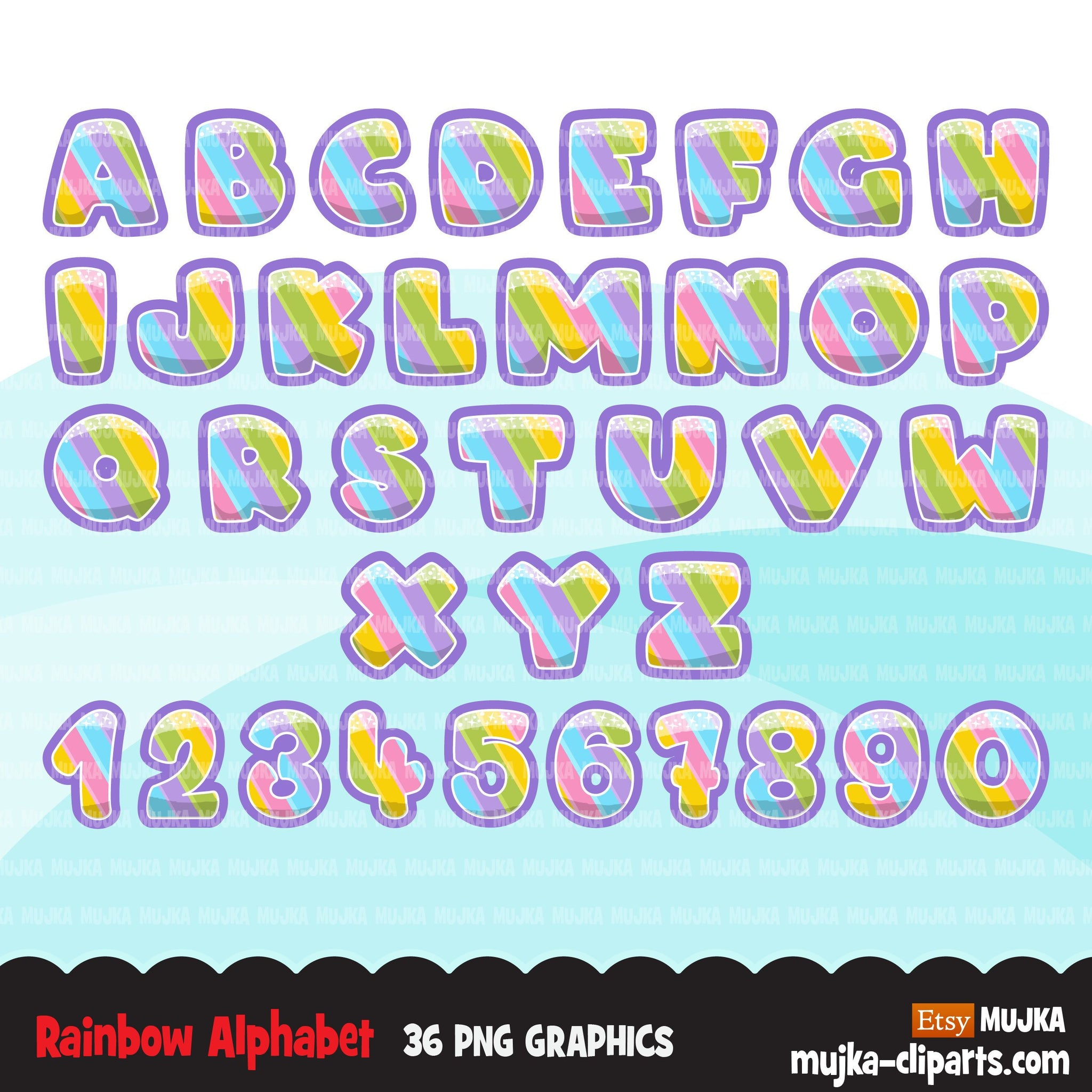 Rainbow Alphabet Clipart, stackable, boy and girl birthday, pastel colors, unicorn, spring, princess, baby shower letters, PNG graphics