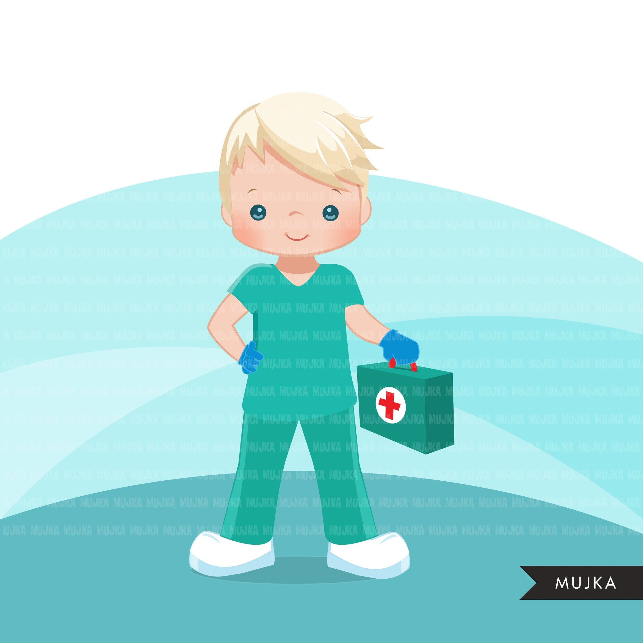 Male Nurse clipart with mask green scrubs, hospital graphics, print and cut PNG digital Designs, covid Medical clip art