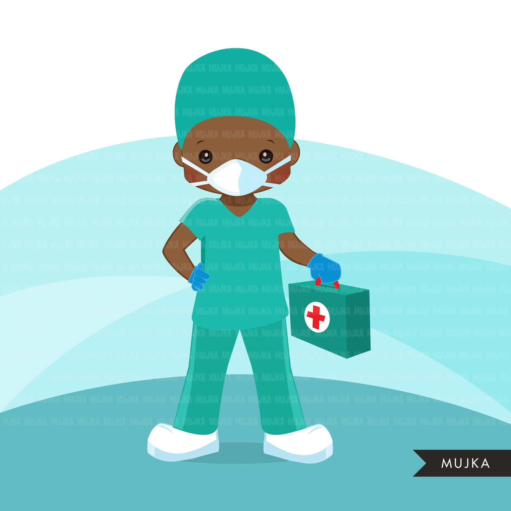 Black Male Nurse clipart with mask green scrubs, hospital graphics, print and cut PNG, covid African American Medical clip art