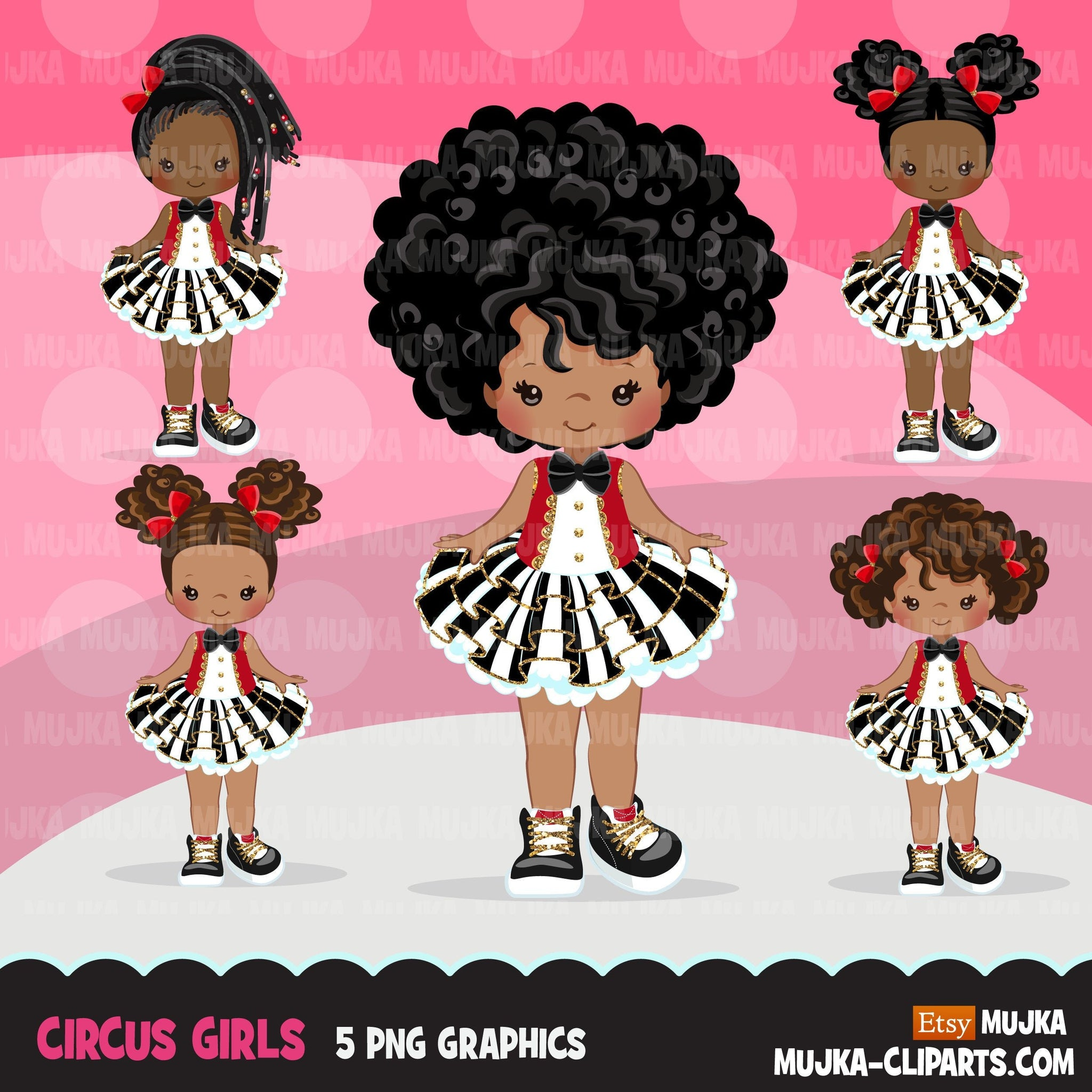 Circus Clipart, glitter tutu Black girl birthday fashion graphics, big top, carnival png, tutu with boots, afro puffs, african american