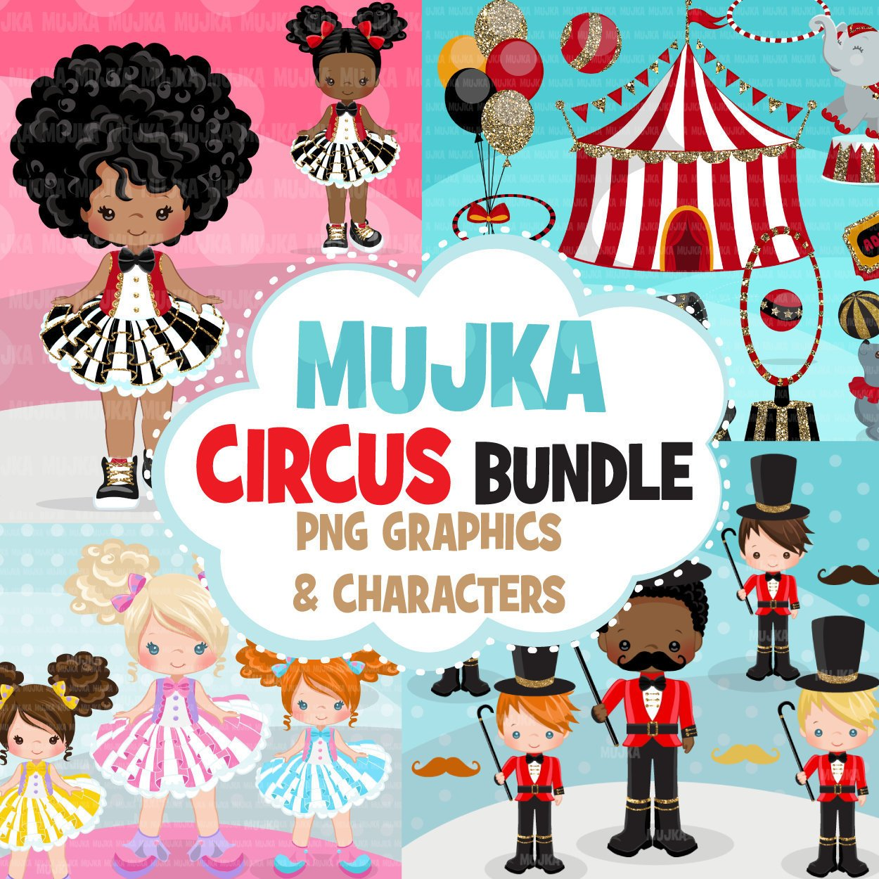 Circus Clipart Bundle, birthday props, sublimation graphics, animals, glitter tutu, pastel, carnival commercial use PNG clip art
