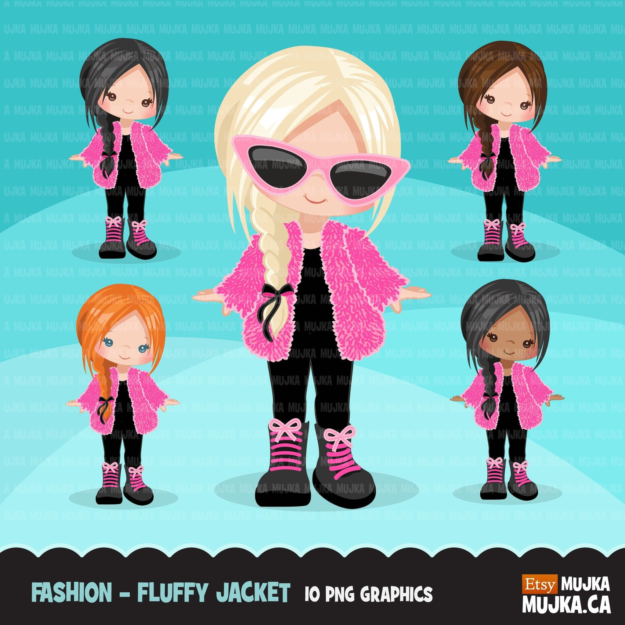 Fashion little girl clipart with fluffy crochet pink jacket, boots and sunglasses, Vacation, travel commercial use characters, digital PNG