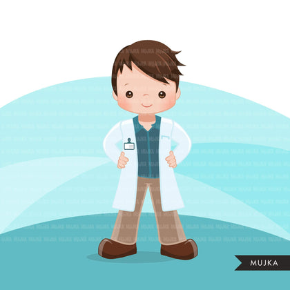 Male Doctor clipart with mask and gloves, hospital graphics, print and cut PNG digital Designs, covid Medical boy clip art